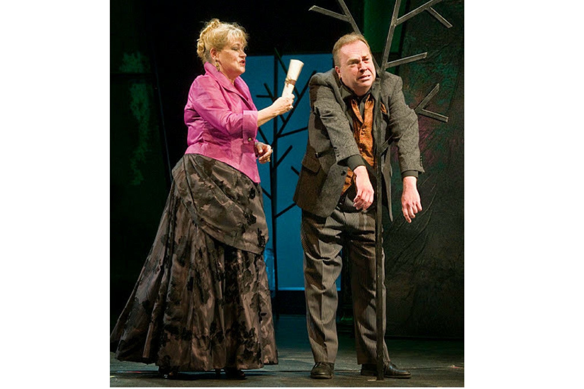 Karen MacDonald (Countess of Rousillon) and Larry Coen (Lavatch) in All's Well That Ends Well, Shakespeare on the Common 2011-Photo by Andrew Brilliant