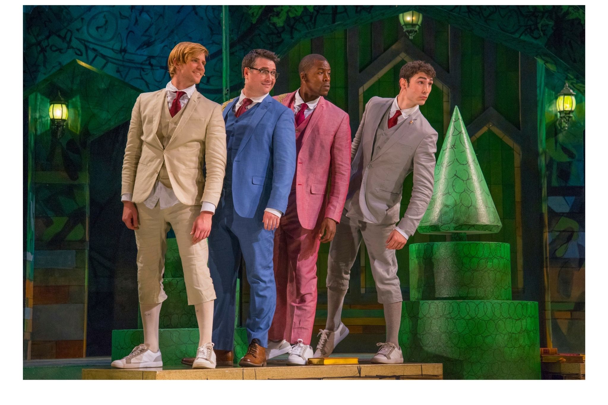 Nash Hightower (Dumaine), Justin Blanchard (King of Navarre), Jason Bowen (Berowne), and Dalton Davis (Longaville) in Love's Labour's Lost, Shakespeare on the Common 2016-Photo by Andrew Brilliant