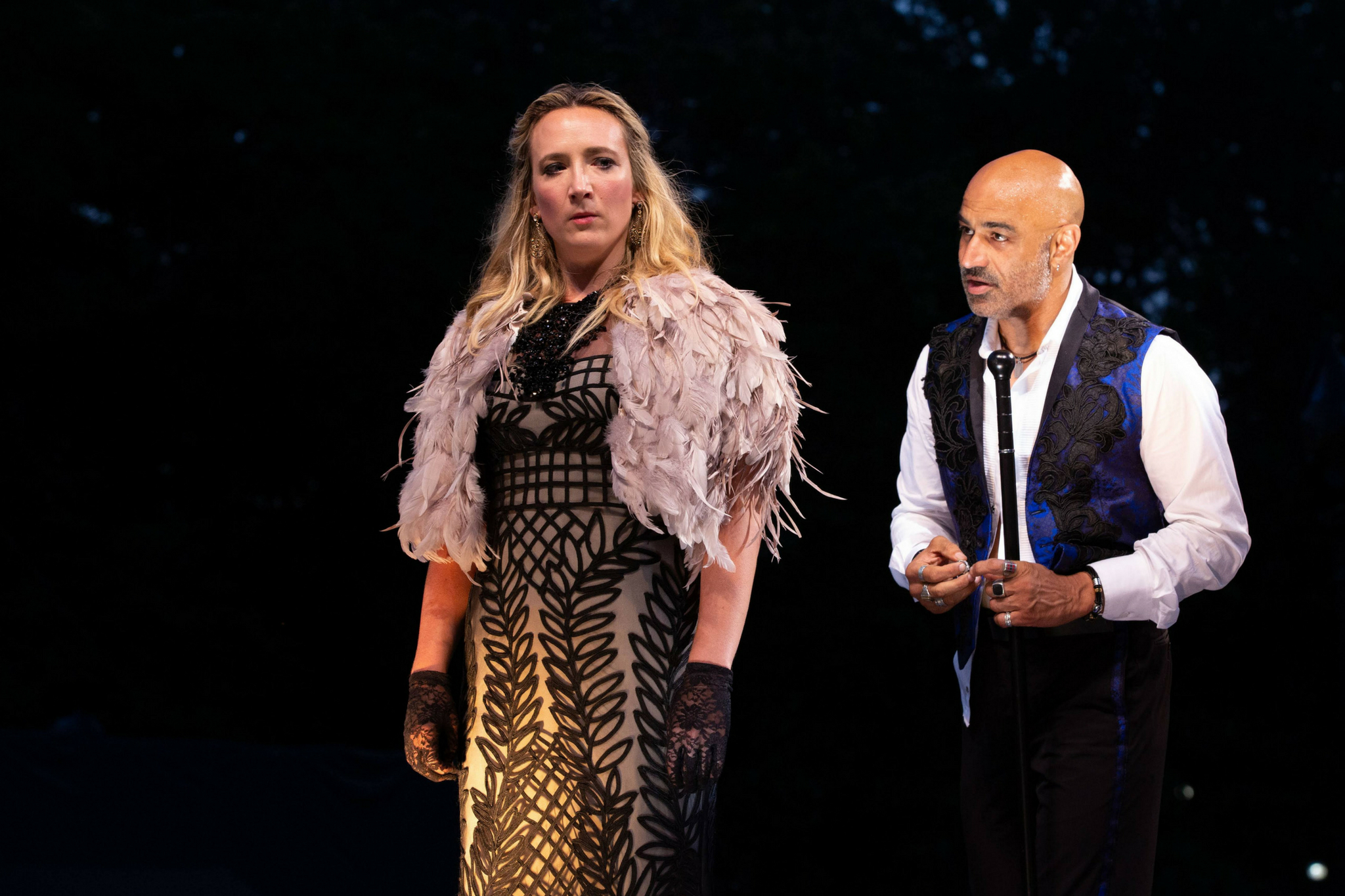 Libby McKnight (Lady Anne) and Faran Tahir (Richard III ) in Richard III, Shakespeare on the Common 2018-Photo by Evgenia Eliseeva