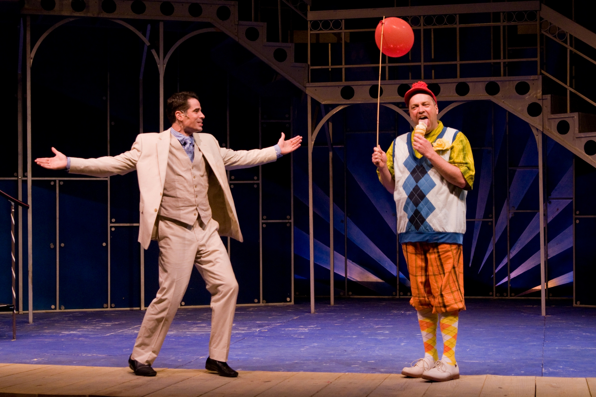 Dan Roach (Antipholus of Syracuse) and Larry Coen (Dromio of Syracuse) in The Comedy of Errors, Shakespeare on the Common 2009-Photo by Andrew Brilliant