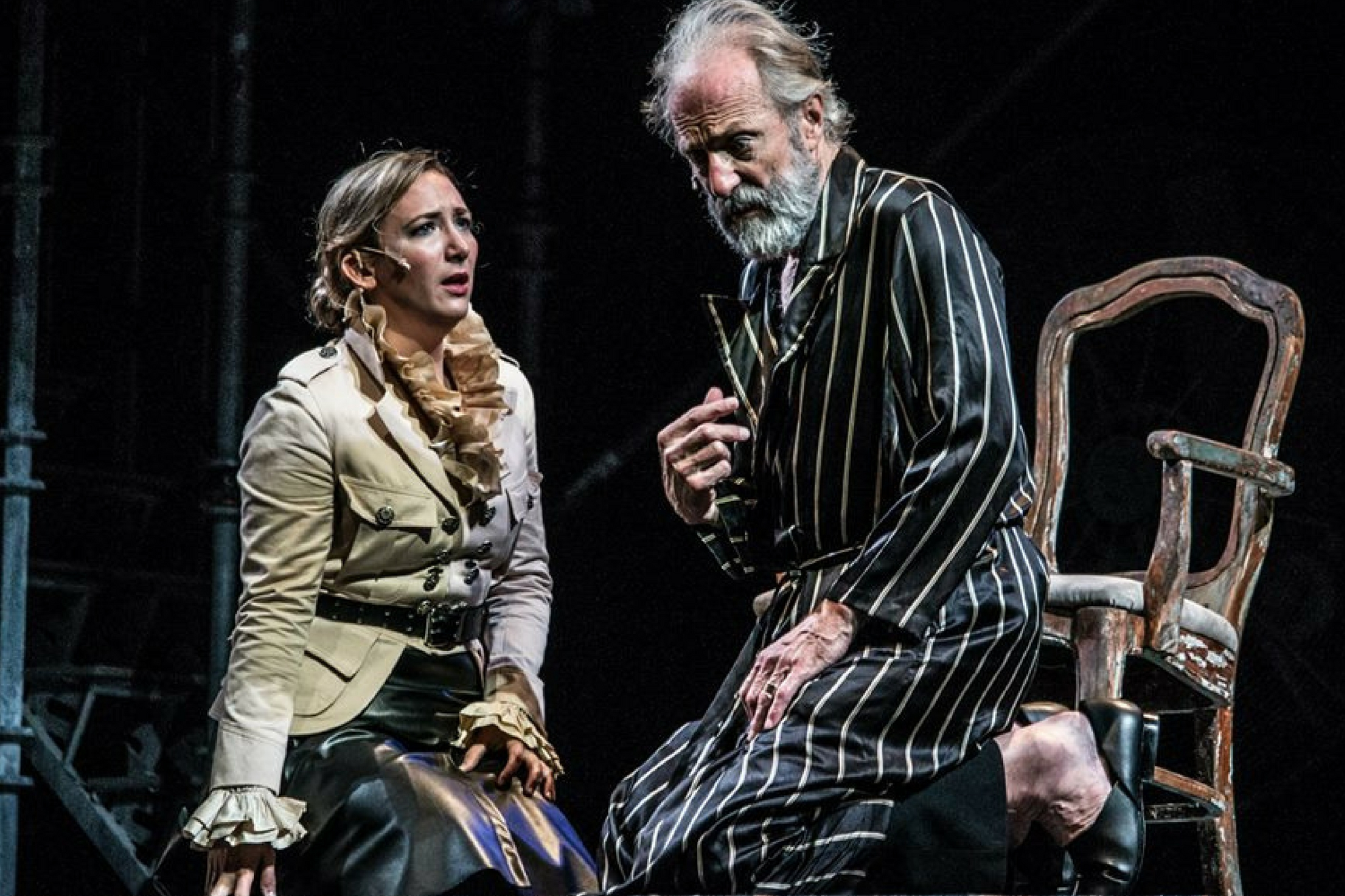 Libby McKnight (Cordelia) and Will Lyman (King Lear) in King Lear, Shakespeare on the Common 2015-Photo by Alex Portenko