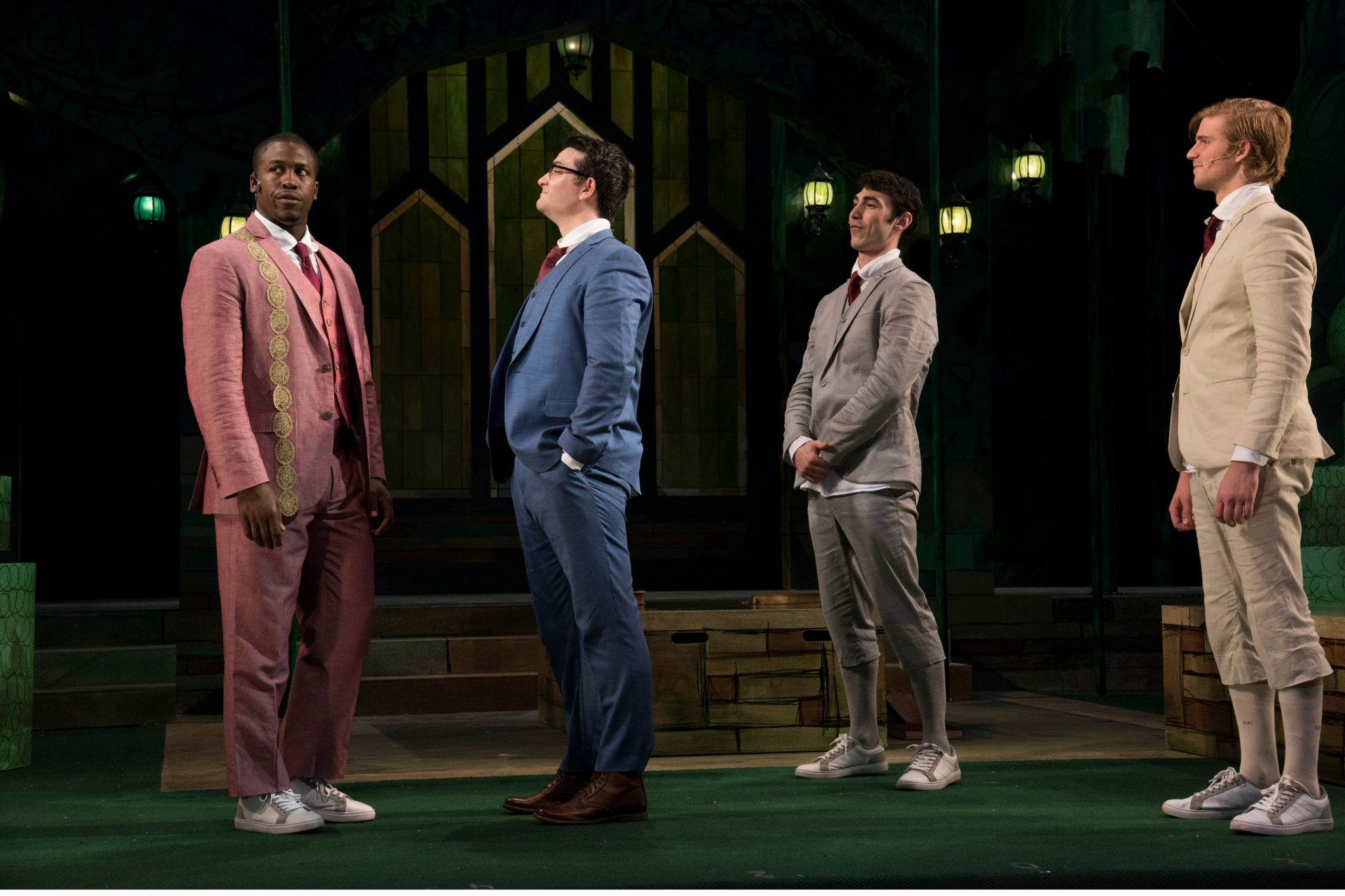 Jason Bowen (Berowne), Justin Blanchard (King of Navarre), Dalton Davis (Longaville), and Nash Hightower (Dumain) Obehi in Love's Labour's Lost, Shakespeare on the Common 2016-Photo by Andrew Brilliant