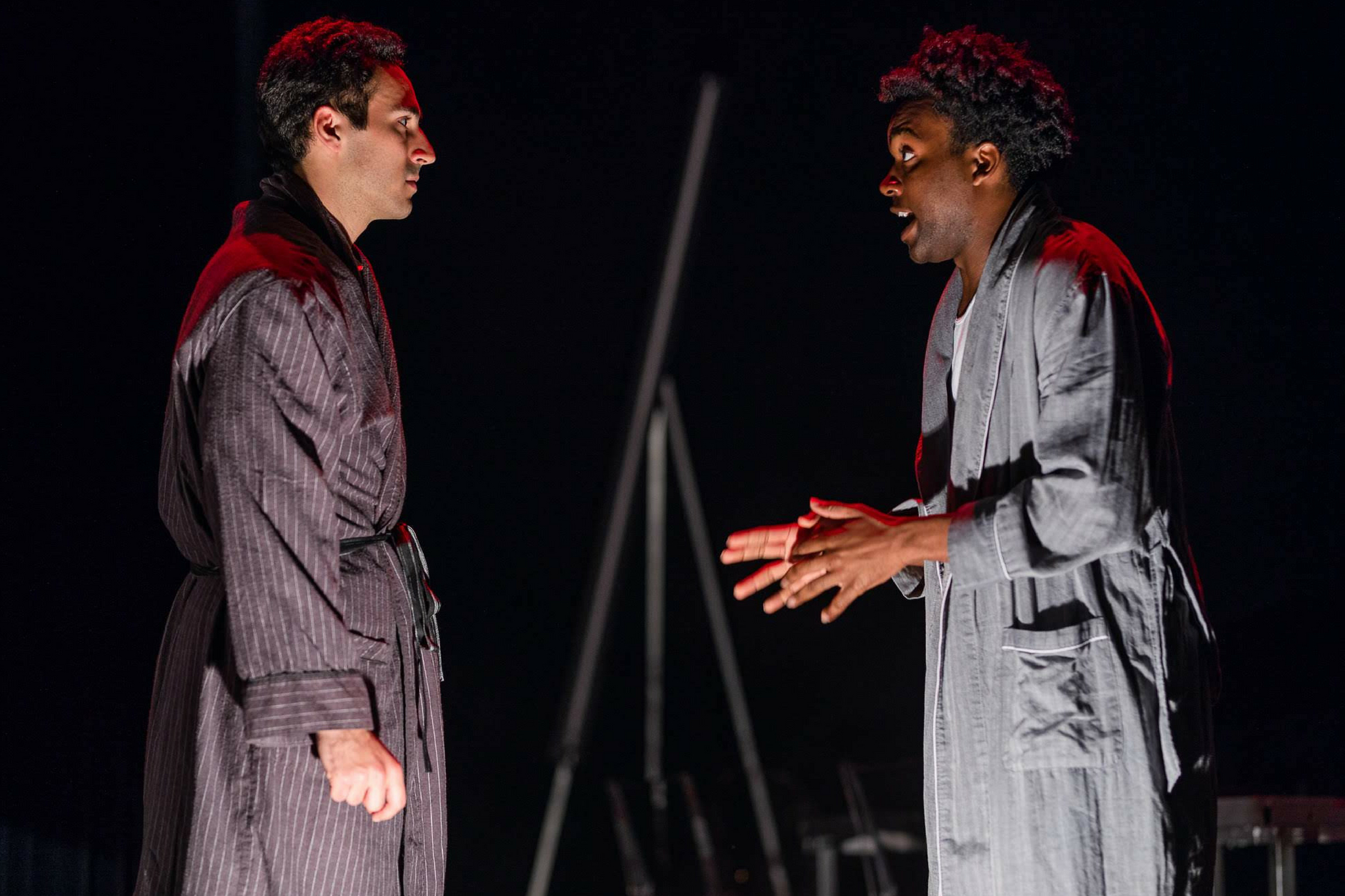 Felix Teich (Donalbain) and Tyshon Boone (Malcolm) in Macbeth, CSC2, 2018-Photo by Nile Hawver