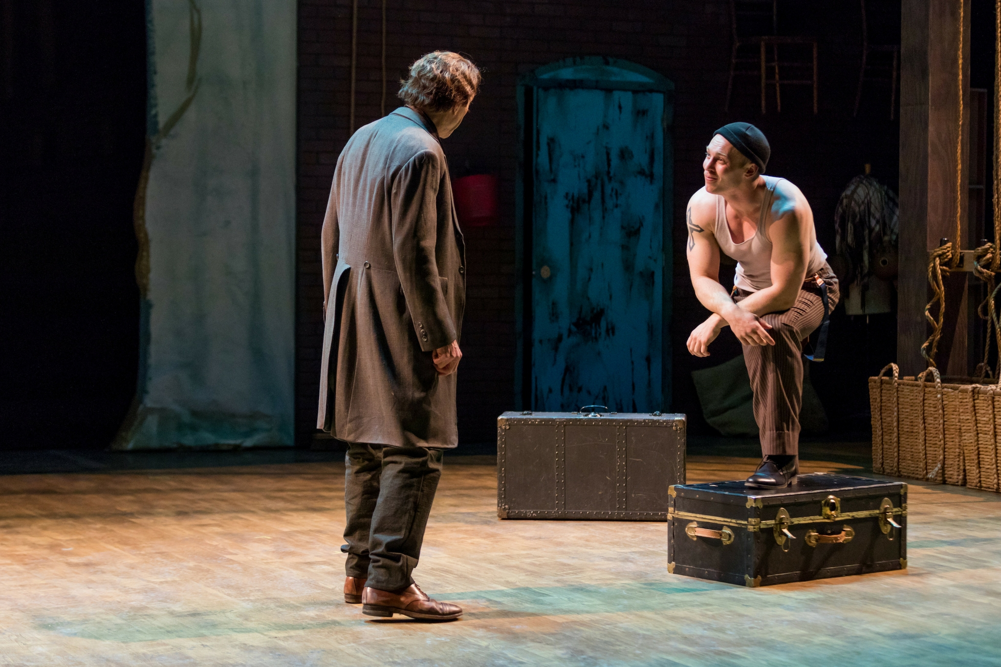 Will Lyman (Junius Brutus Booth) and Kelby Akin (Dock Worker) in Our American Hamlet, 2017-Photo by Nile Hawver