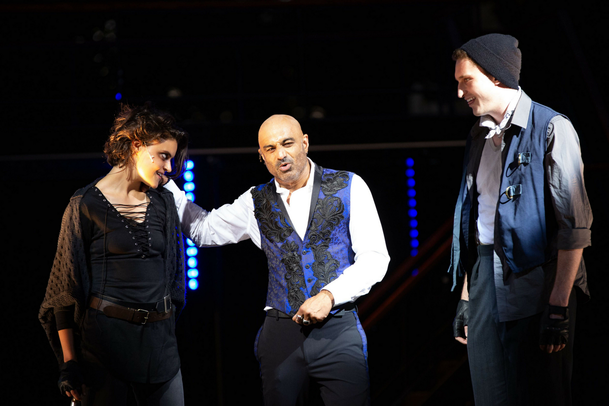 Claire Alexander (1st Murderer), Faran Tahir (Richard III), and Ross Barron (2nd Murderer) in Richard III, Shakespeare on the Common 2018-Photo by Evgenia Eliseeva