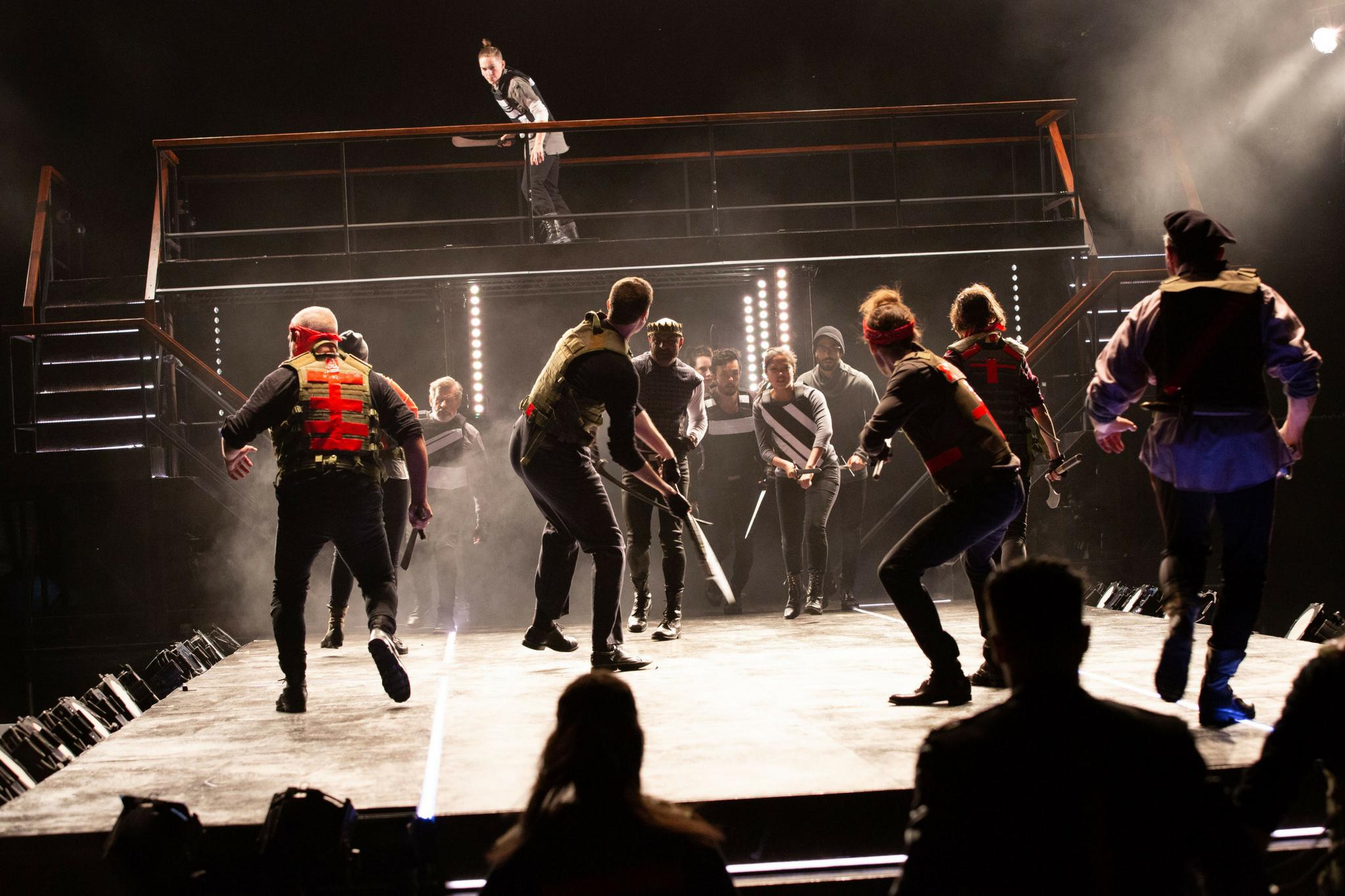 Susannah Wilson (Soldier, top platform) in Richard III, Shakespeare on the Common 2018-Photo by Evgenia Eliseeva