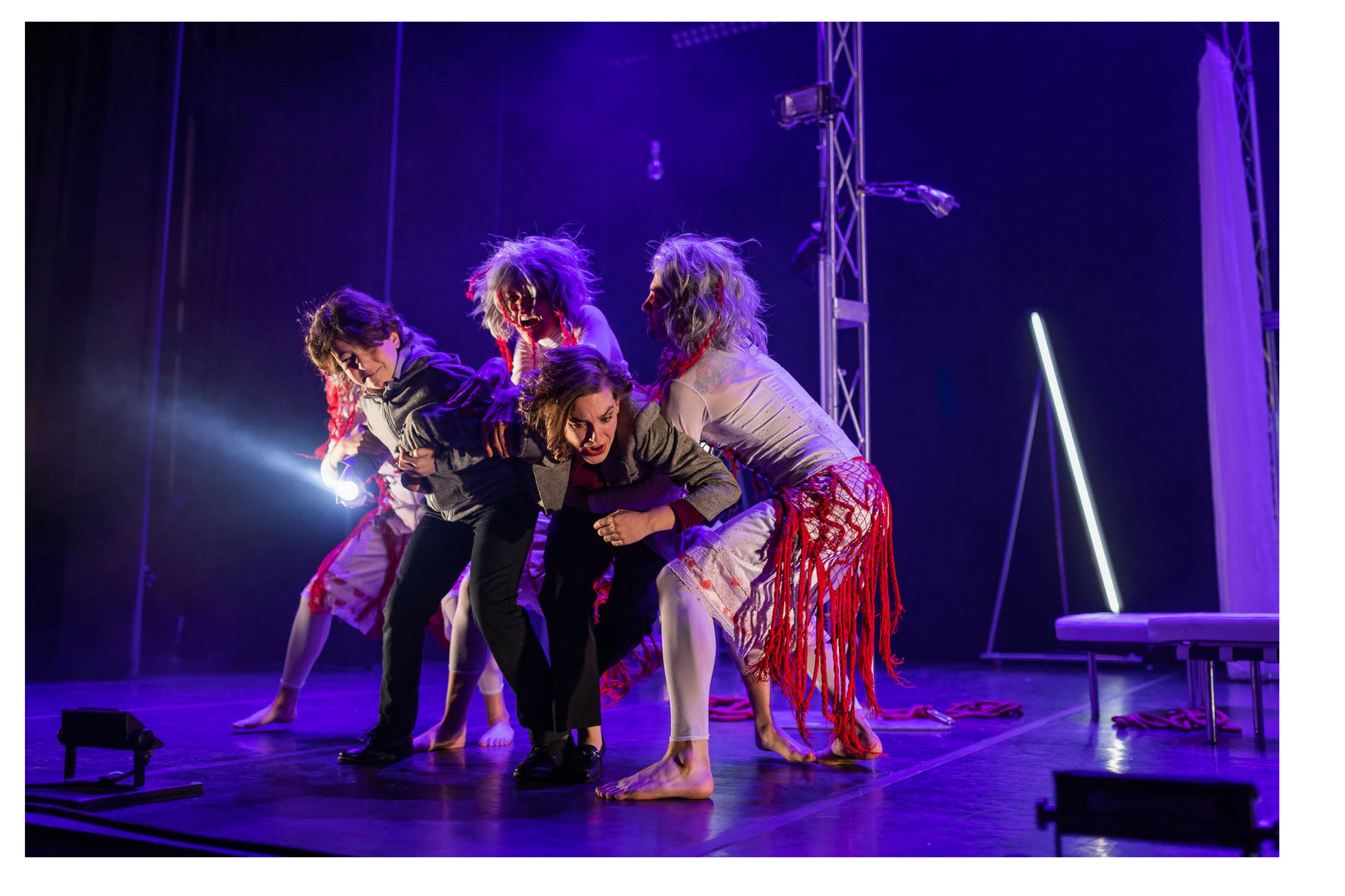 Jaine Ye (Witch), Michael Mansour (Fleance), Claire Alexander (Witch), Susannah Wilson (Banquo), and Marge Buckley (Witch) in Macbeth, CSC2, 2018-Photo by Nile Hawver