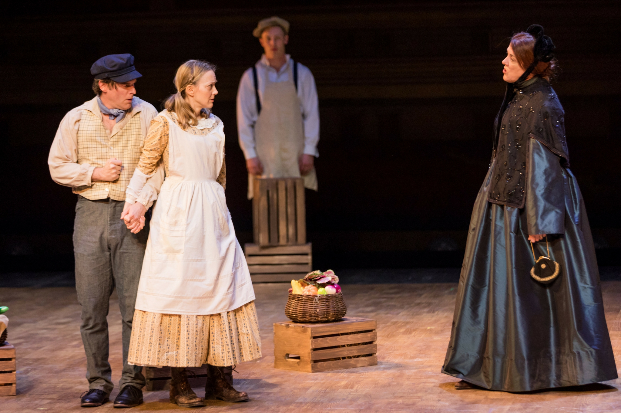 Joe Fria (John Wilkes Booth), Lucy Davenport (Asia Booth), Kelby Akin (Seller), and Maureen Keiller (Adelaide Delanoy) in Our American Hamlet, 2017-Photo by Nile Hawver
