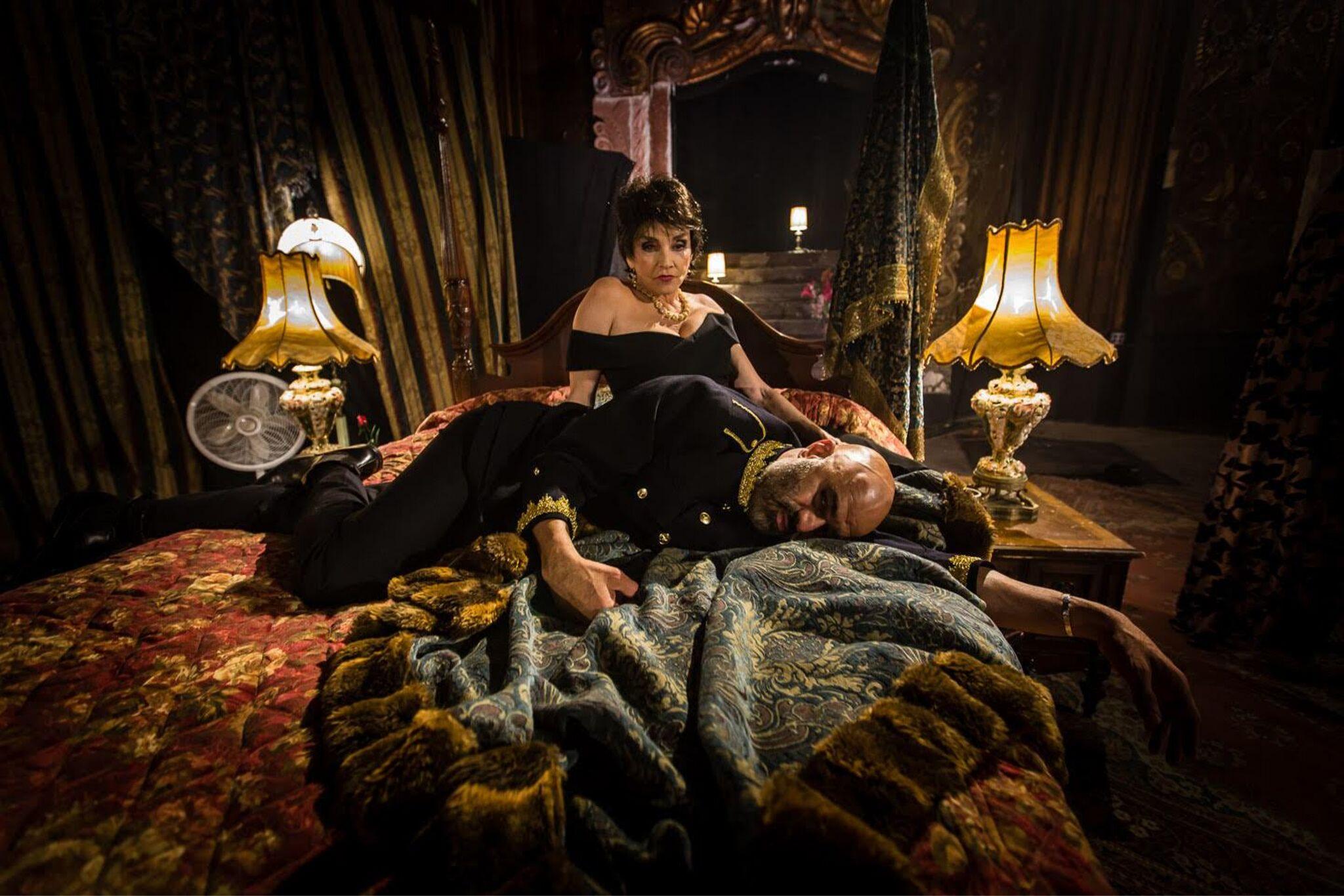 Brooke Adams (Queen Gertrude) and Faran Tahir (Claudius) in Hamlet 360: Thy Father's Spirit. Photo by Matthew Niederhauser