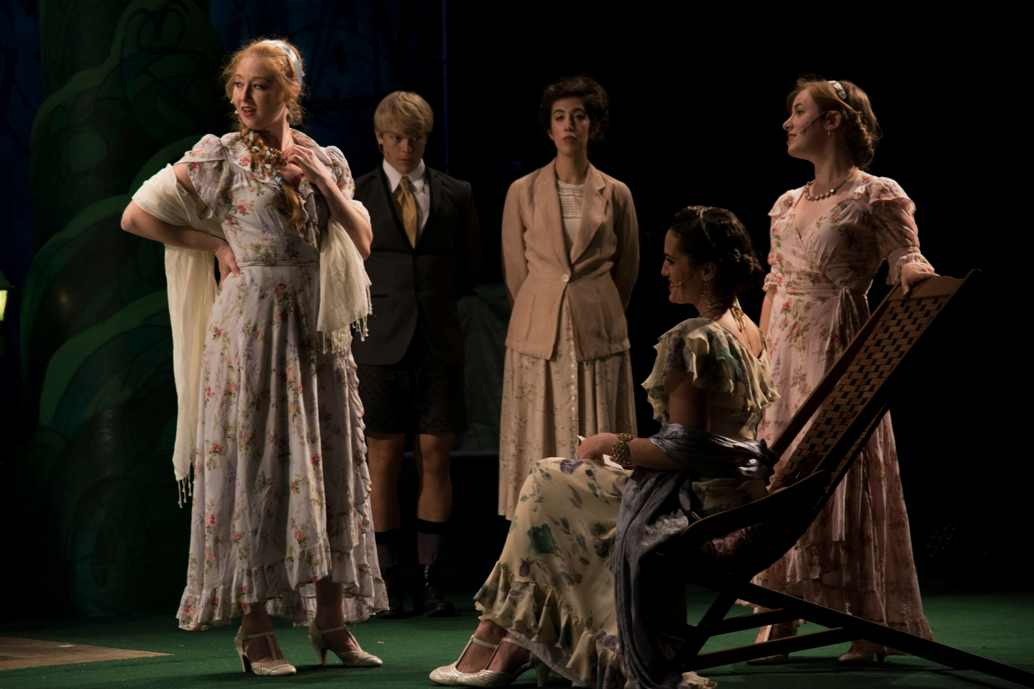 Jes Bedwinek (Maria), Colin Wulff (First Gentleman), Grace Trapnell (Ensemble), Jennifer Ellis (Princess of France), and Margaret Clark (Katharine)  in Love's Labor's Lost, Shakespeare on the Common 2016-Photo by Andrew Brilliant