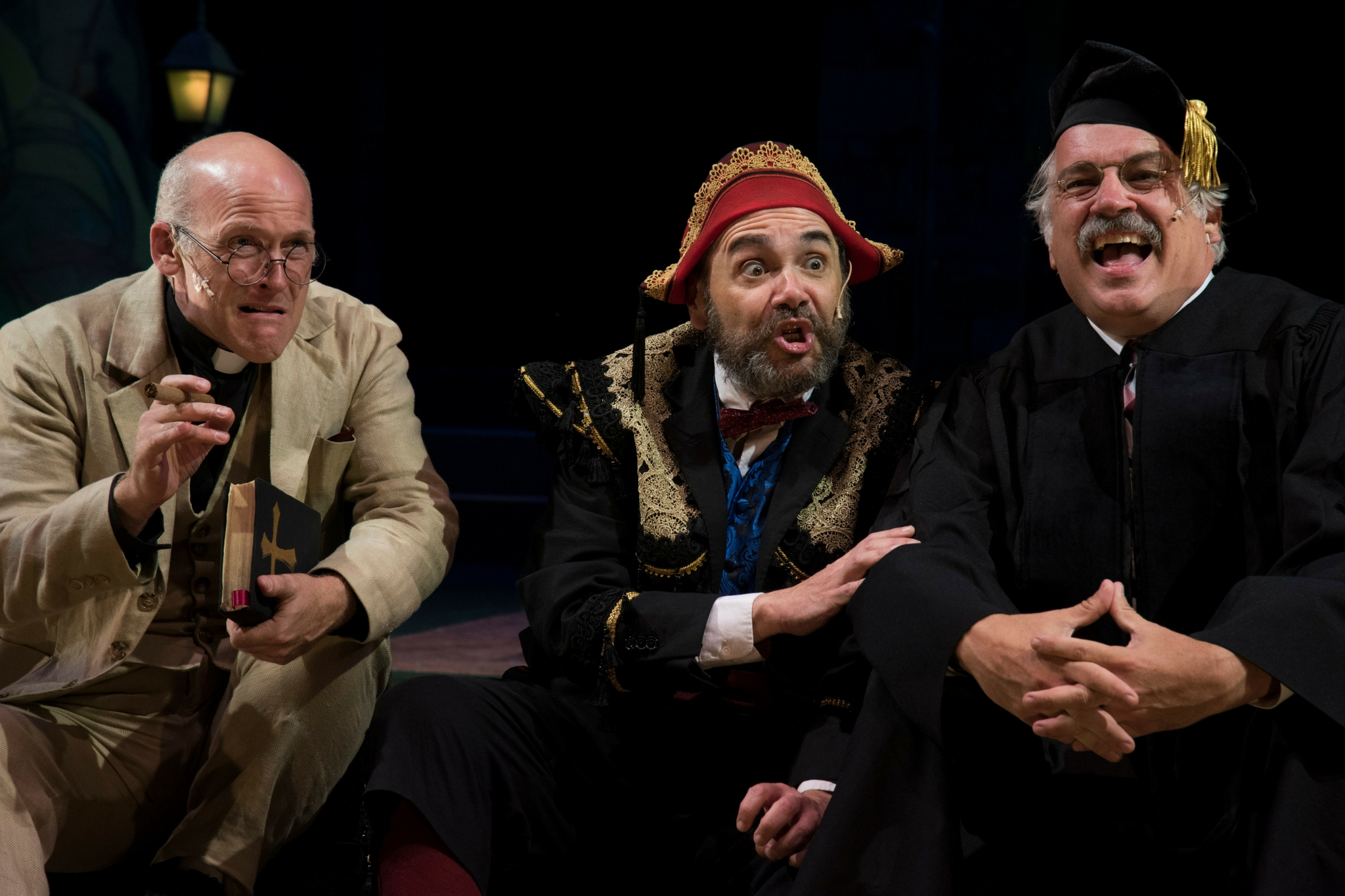 Mark Soucy (Sir Nathaniel), Remo Airaldi (Don Armado). and Fred Sullivan, Jr. (Holofernes) in Love's Labour's Lost, Shakespeare on the Common 2016-Photo by Andrew Brilliant