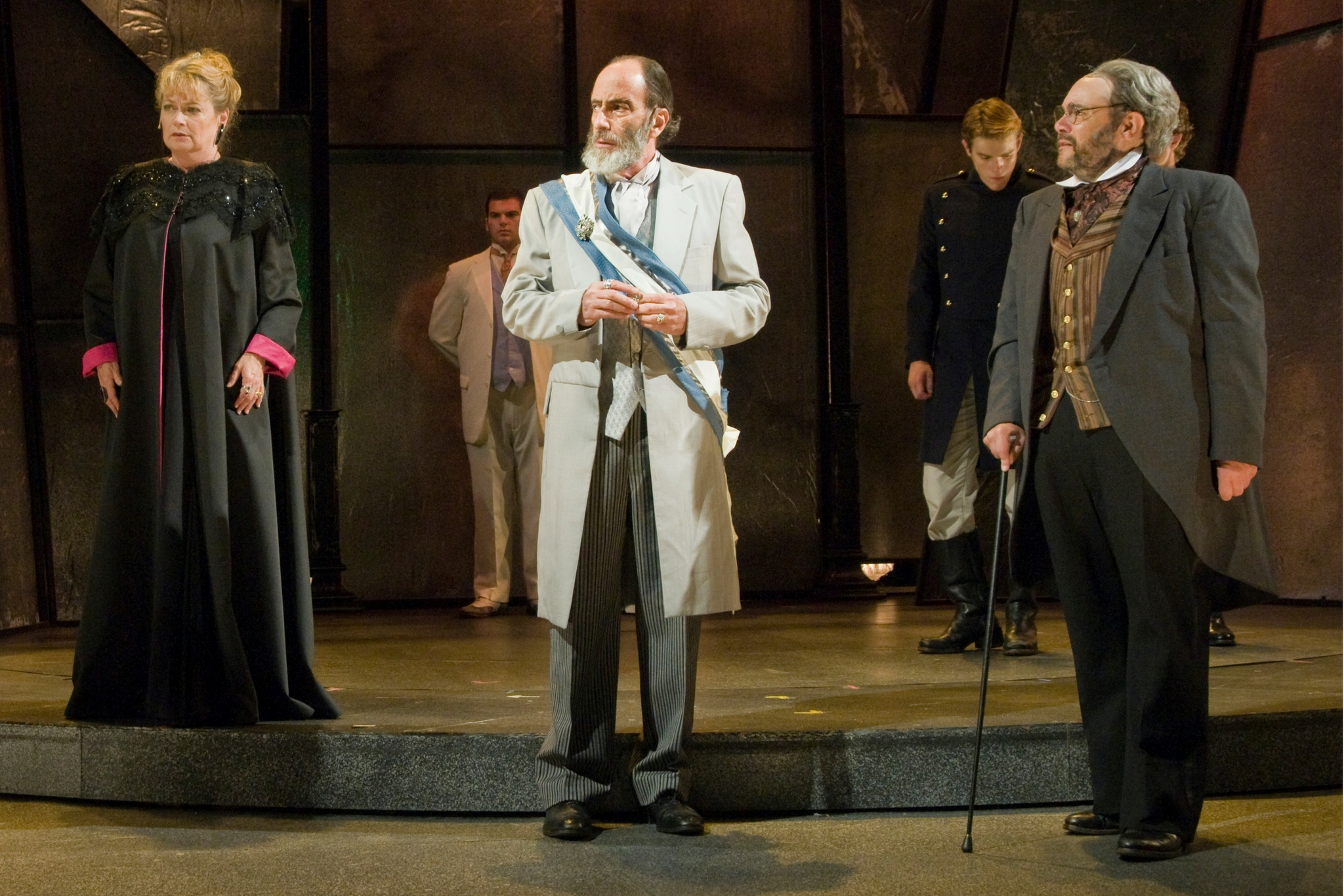 Karen MacDonald (Countess of Rousillon), Will LeBow (King of France), and Remo Airaldi (Lafeu) in All's Well That Ends Well, Shakespeare on the Common 2011-Photo by Andrew Brilliant