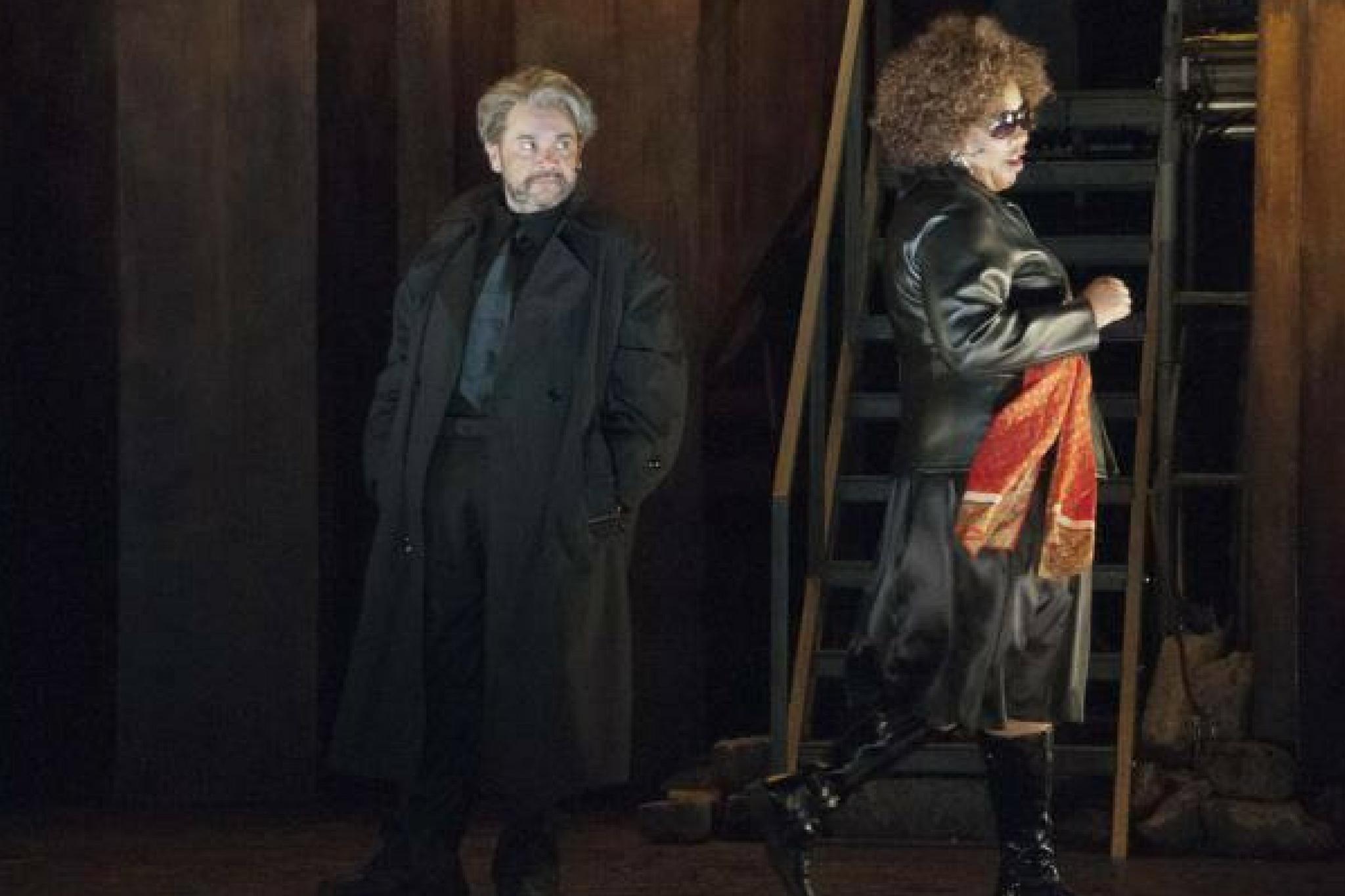 Remo Airaldi (Junius Brutus) and Jacqui Parker (Sicinius Velutus)in Coriolanus, Shakespeare on the Common 2012-Photo by Andrew Brilliant