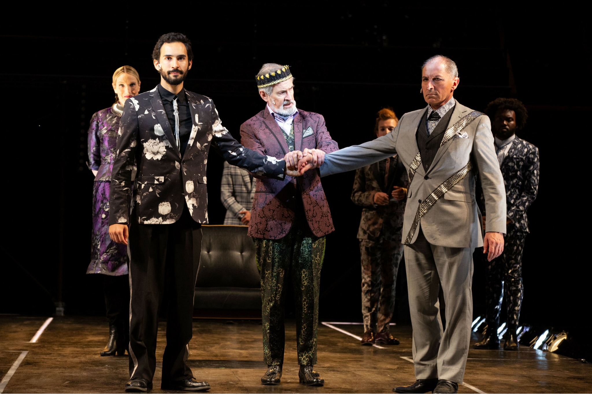Felix Teich (Rivers) and Richard Noble (King Edward IV), and Mark Torres (Hastings) in Richard III, Shakespeare on the Common 2018-Photo by Evgenia Eliseeva