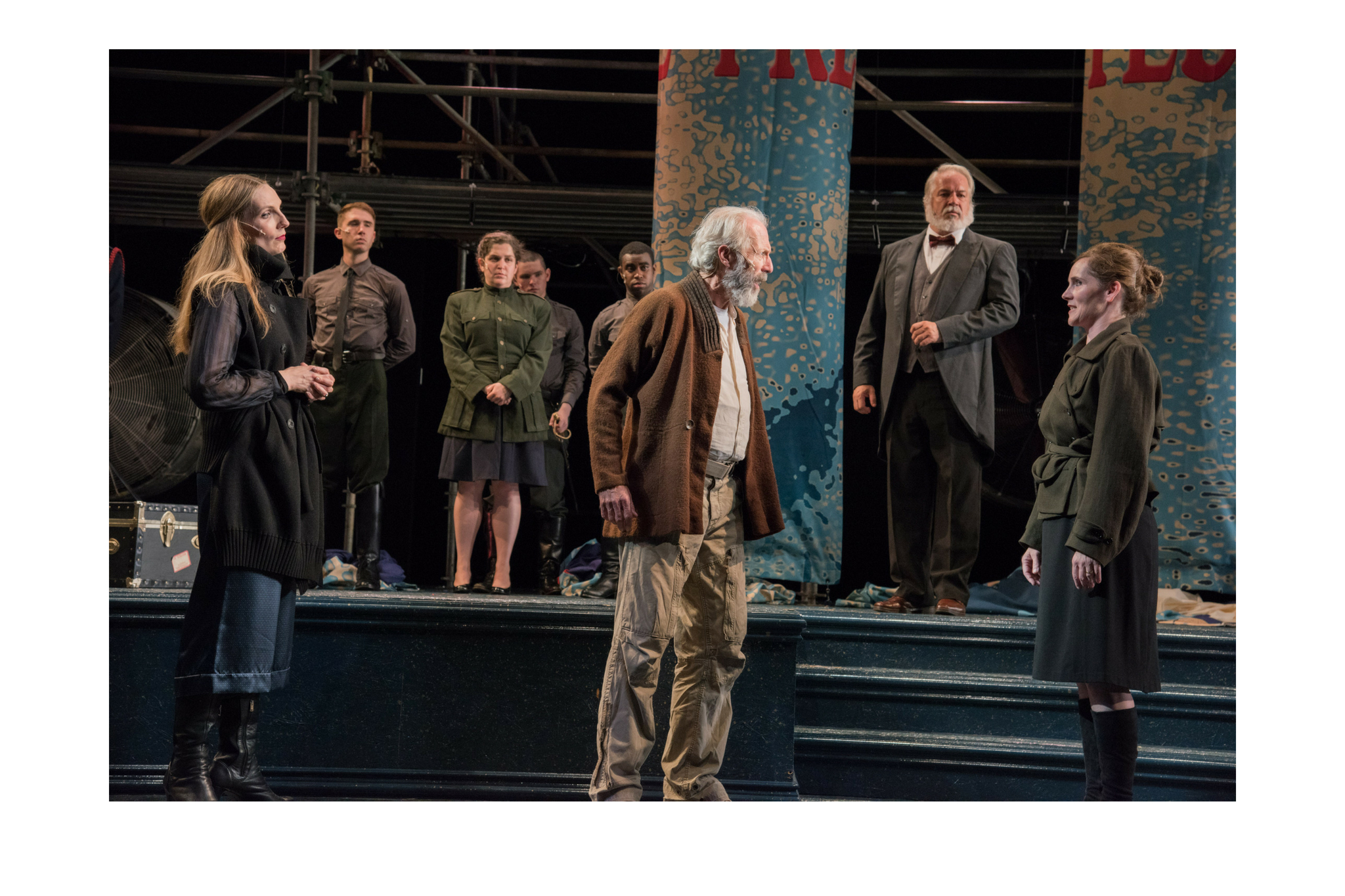 Deb Martin (Goneril), Jacob Rosenbaum (Soldier), Kelsey Lidsky (Soldier), Eliott Purcell (Soldier), Marc Pierre (Soldier), Will Lyman (King Lear), Fred Sullivan, Jr. (Earl of Gloucester), and Jeanine Kane (Regan) in King Lear, Shakespeare on the Common 2015-Photo by Andrew Brilliant