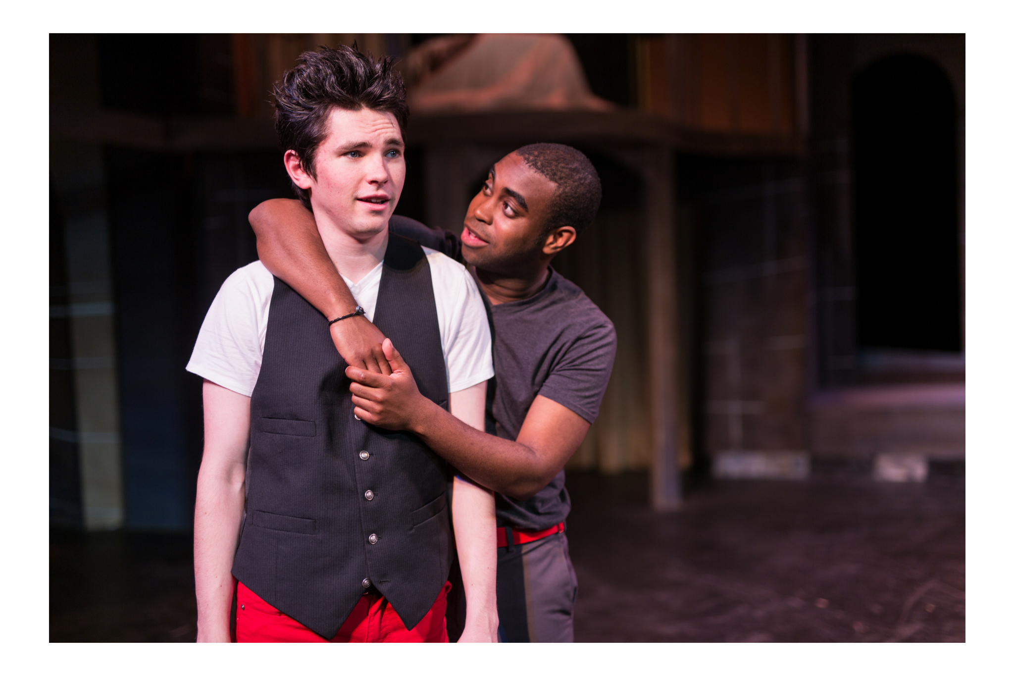 Eliott Purcell (Romeo) and Marc Pierre (Benvolio) in Romeo & Juliet, CSC2, 2015-Photo by Nile Hawver