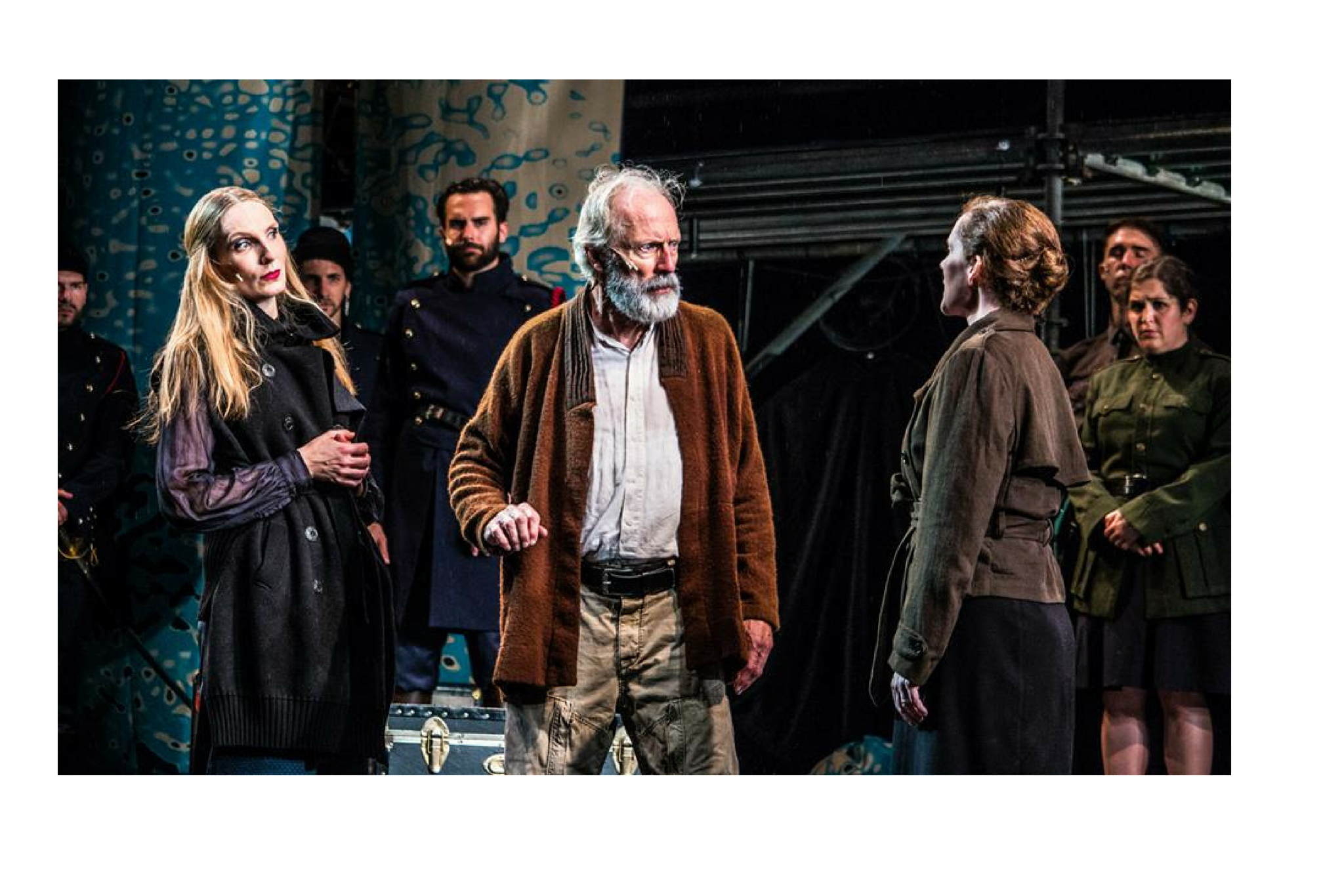 Deb Martin (Goneril), Brennan Lowery (Soldier) Will Lyman (King Lear), Jeanine Kane (Regan) and Kelsey Lidsky (Soldier) in King Lear, Shakespeare on the Common 2015-Photo by Andrew Brilliant