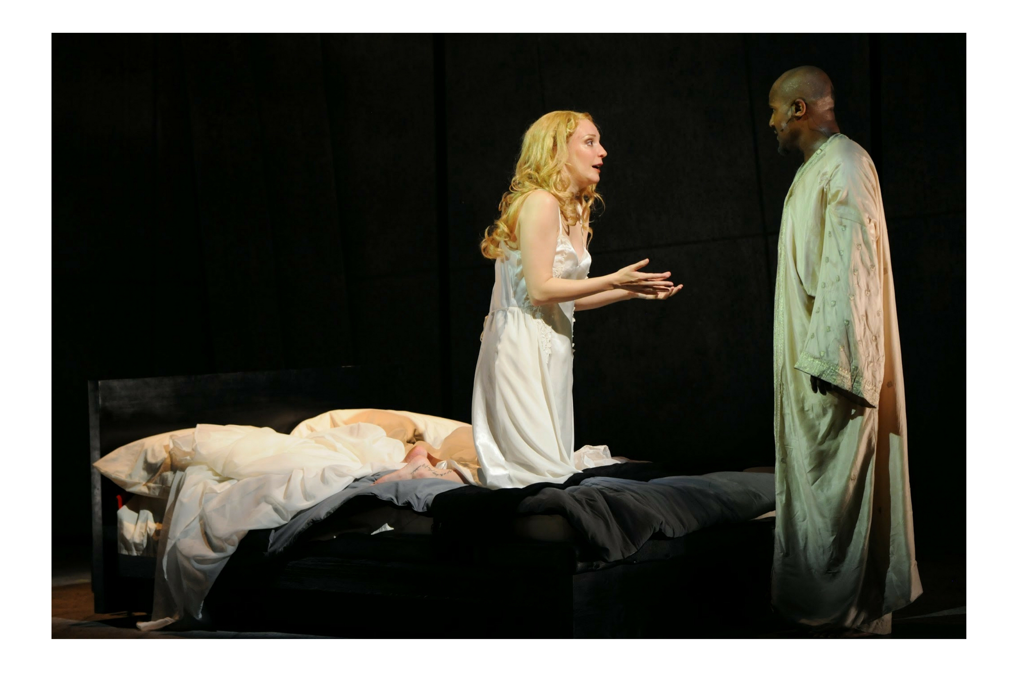 Marianna Bassham (Desdemona) and Seth Gilliam (Othello) in Othello, Shakespeare on the Common 2010-Photo by Andrew Brilliant