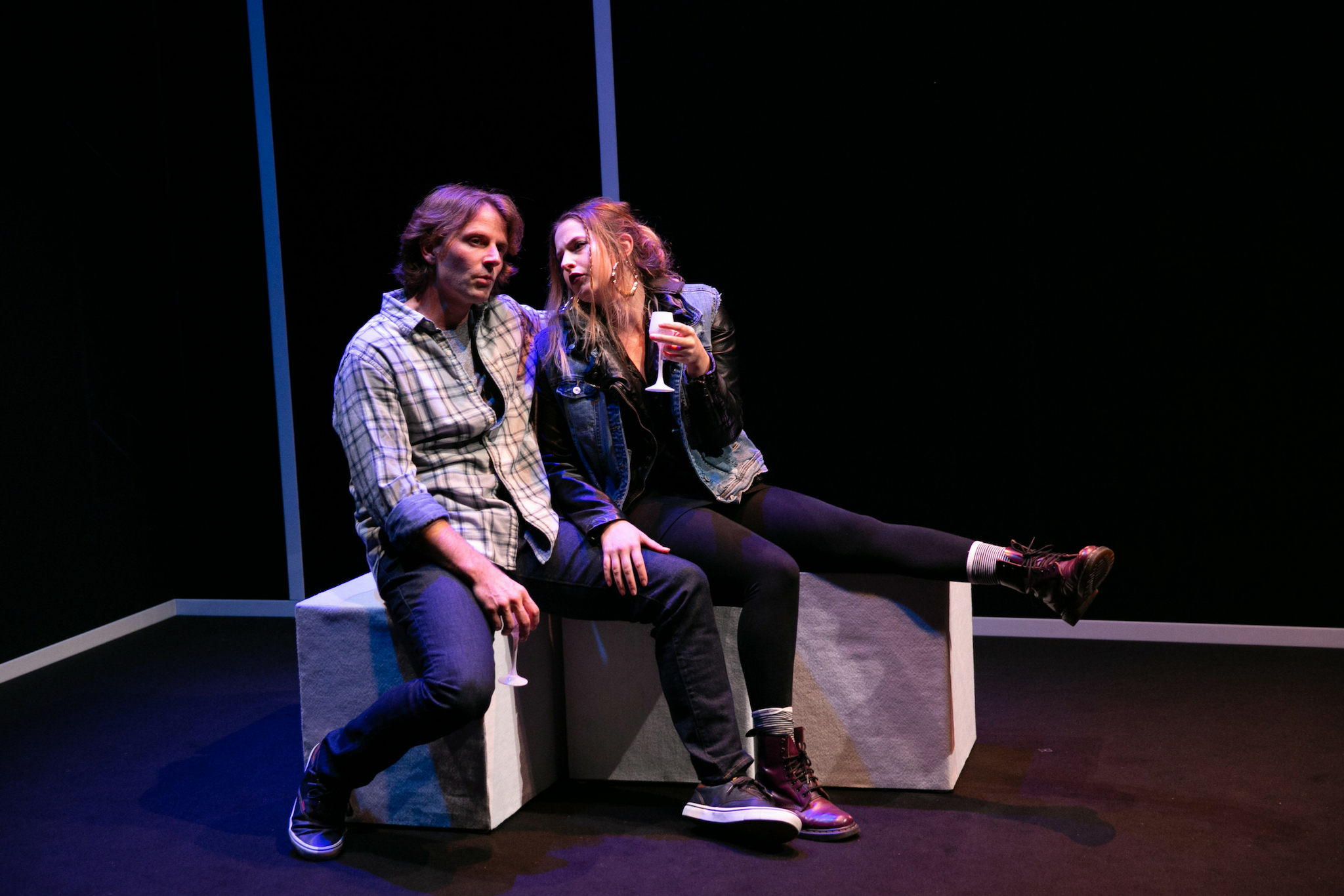Ryan Winkles (Derek) and Sarah Mass (Enid) in Blue Kettle, 2018-Photo by Evgenia Eliseeva