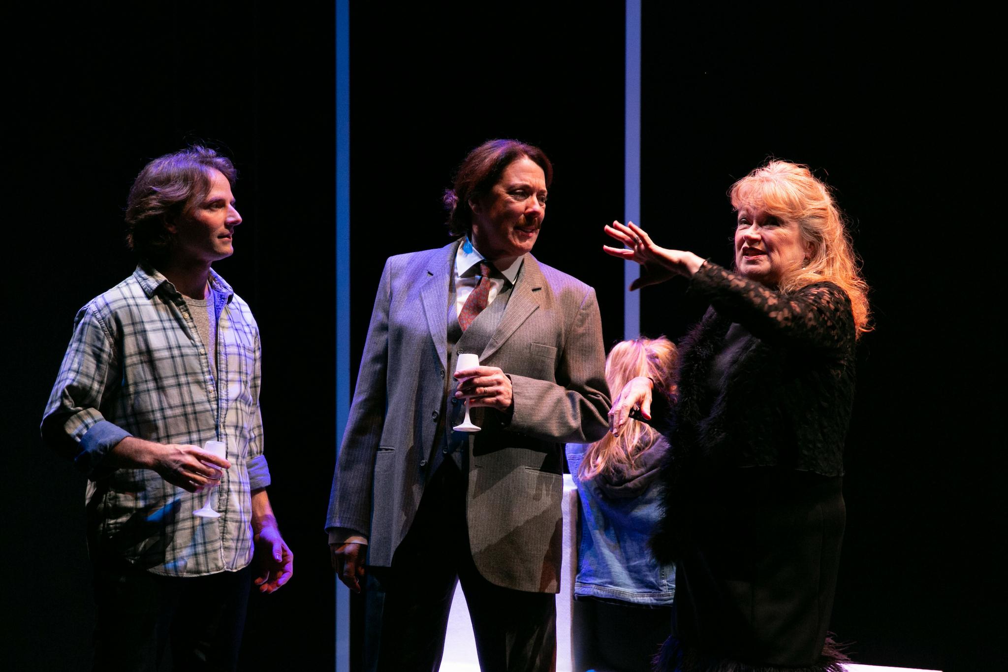 Ryan Winkles (Derek), Maureen Keiller (Mr. Vane), and Karen MacDonald (Mrs. Vane) in Blue Kettle, 2018-Photo by Evgenia Eliseeva