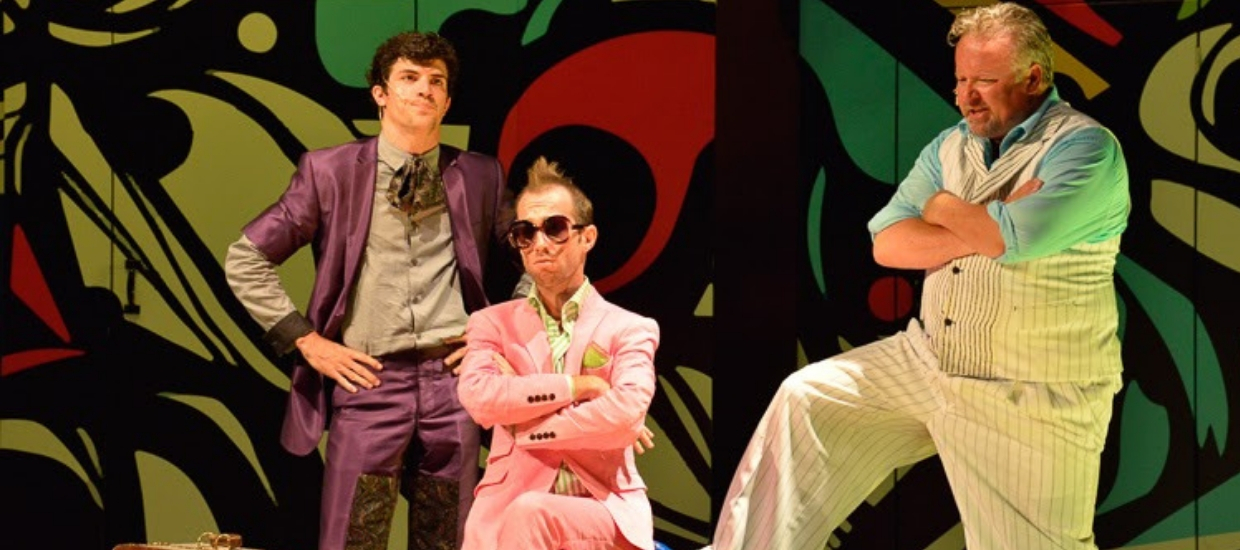 Juan C. Rodriguez (Fabian), Connor Christiansen (Sir Andrew Aguecheek) , and Robert Pemberton (Sir Toby Belch) in Twelfth Night, Shakespeare on the Common 2014-Photo by Andrew Brilliant
