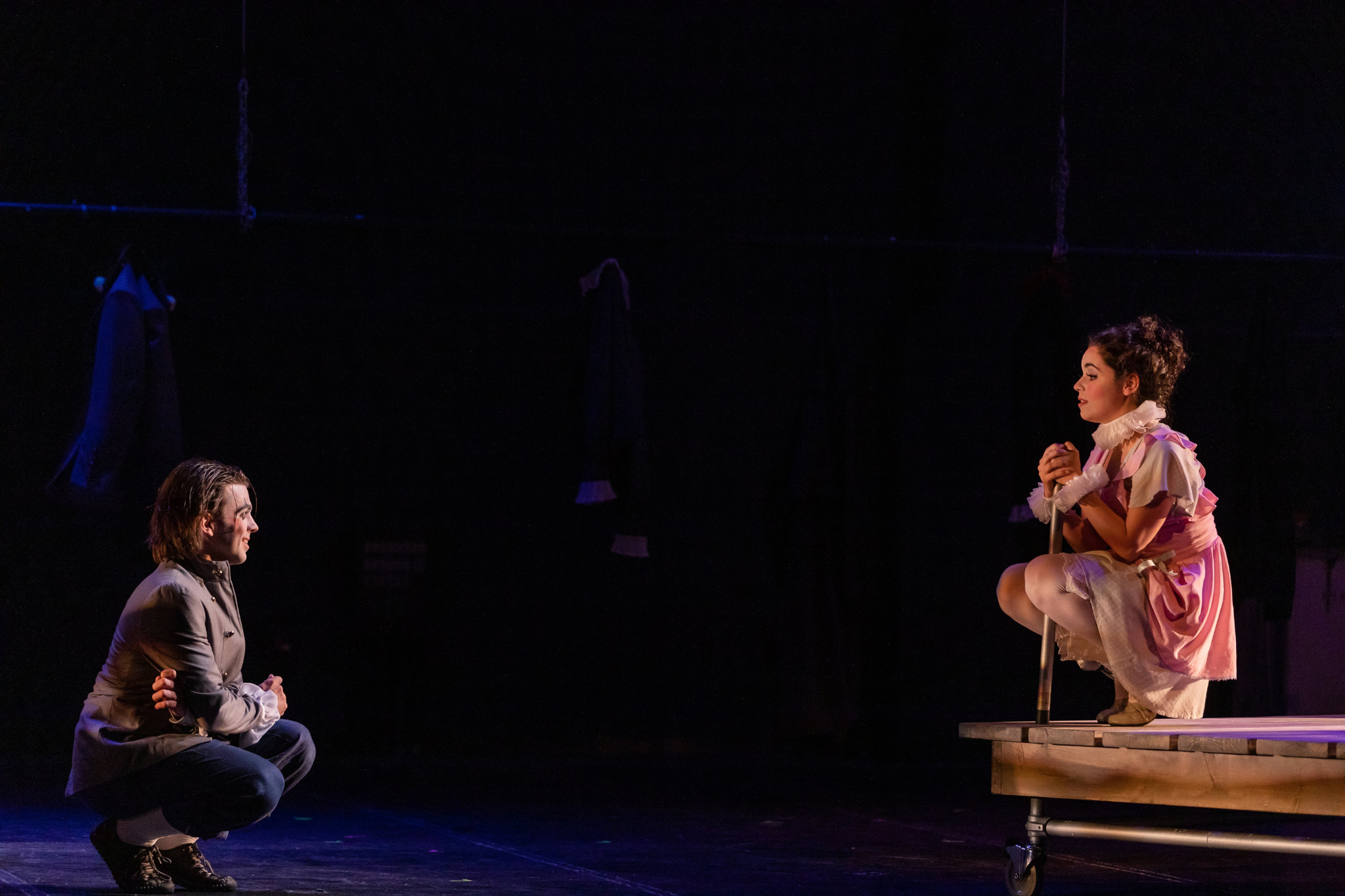 Greg Hermann (Romeo) and Erika Anclade (Juliet) in Romeo & Juliet, CSC2, 2019-Photo by Nile Hawver