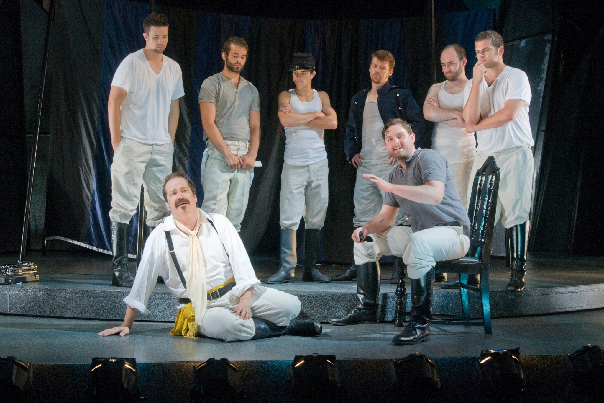 Juan C. Rodriguez (ensemble, center back row) and the cast of All's Well That Ends Well, Shakespeare on the Common 2011-Photo by Andrew Brilliant