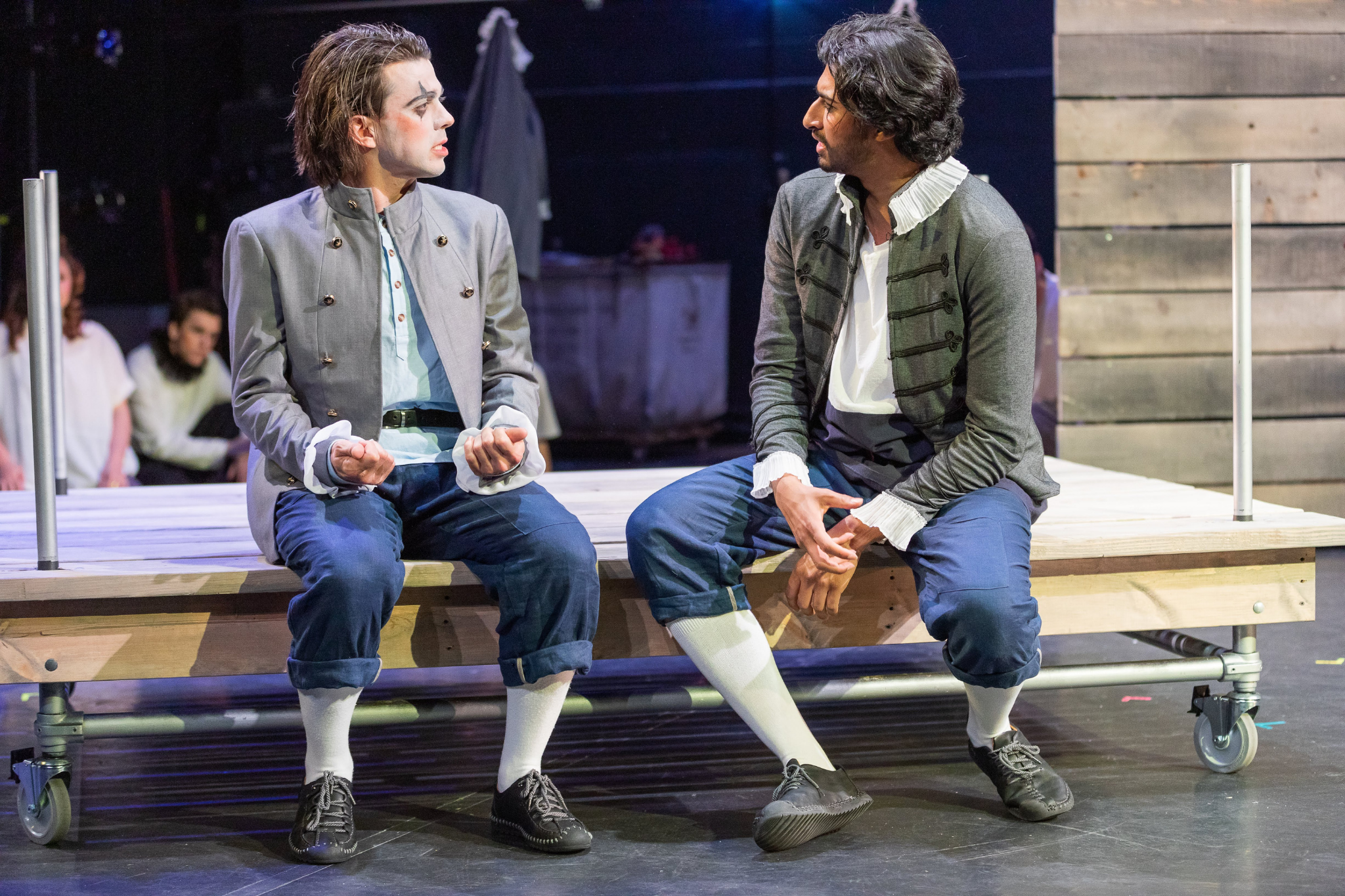 Greg Hermann (Romeo) and Mihir Kumar (Benvolio) in Romeo & Juliet, CSC2, 2019-Photo by Nile Hawver