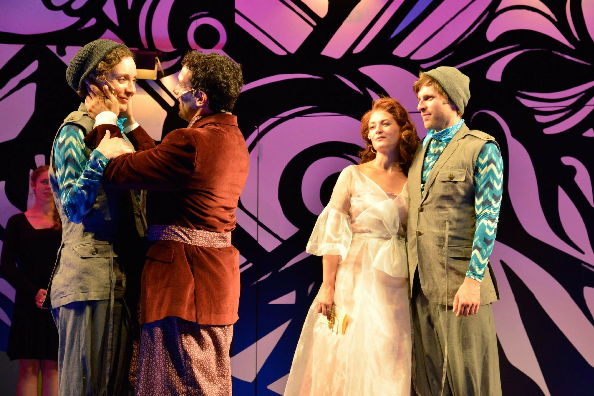 Marianna Bassham (Viola), Robert Najarian (Orsino), Kerry O'Malley (Olivia), and Nile Hawver (Sebastian) in Twelfth Night, Shakespeare on the Common 2014-Photo by Andrew Brilliant