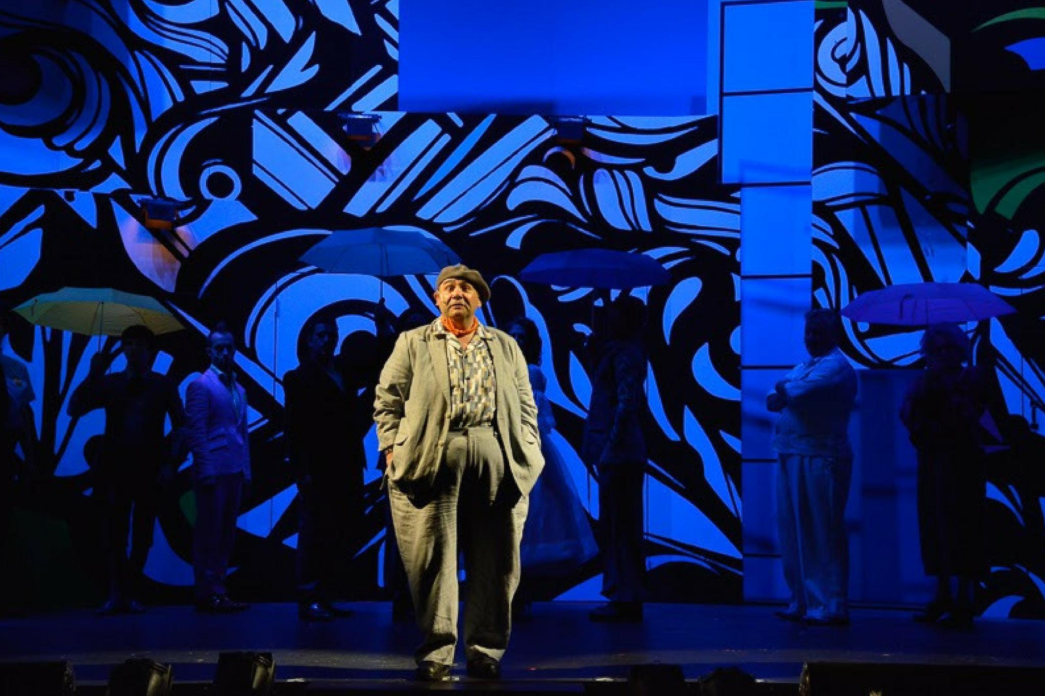 Remo Airaldi (Feste) in Twelfth Night, Shakespeare on the Common 2014-Photo by Andrew Brilliant