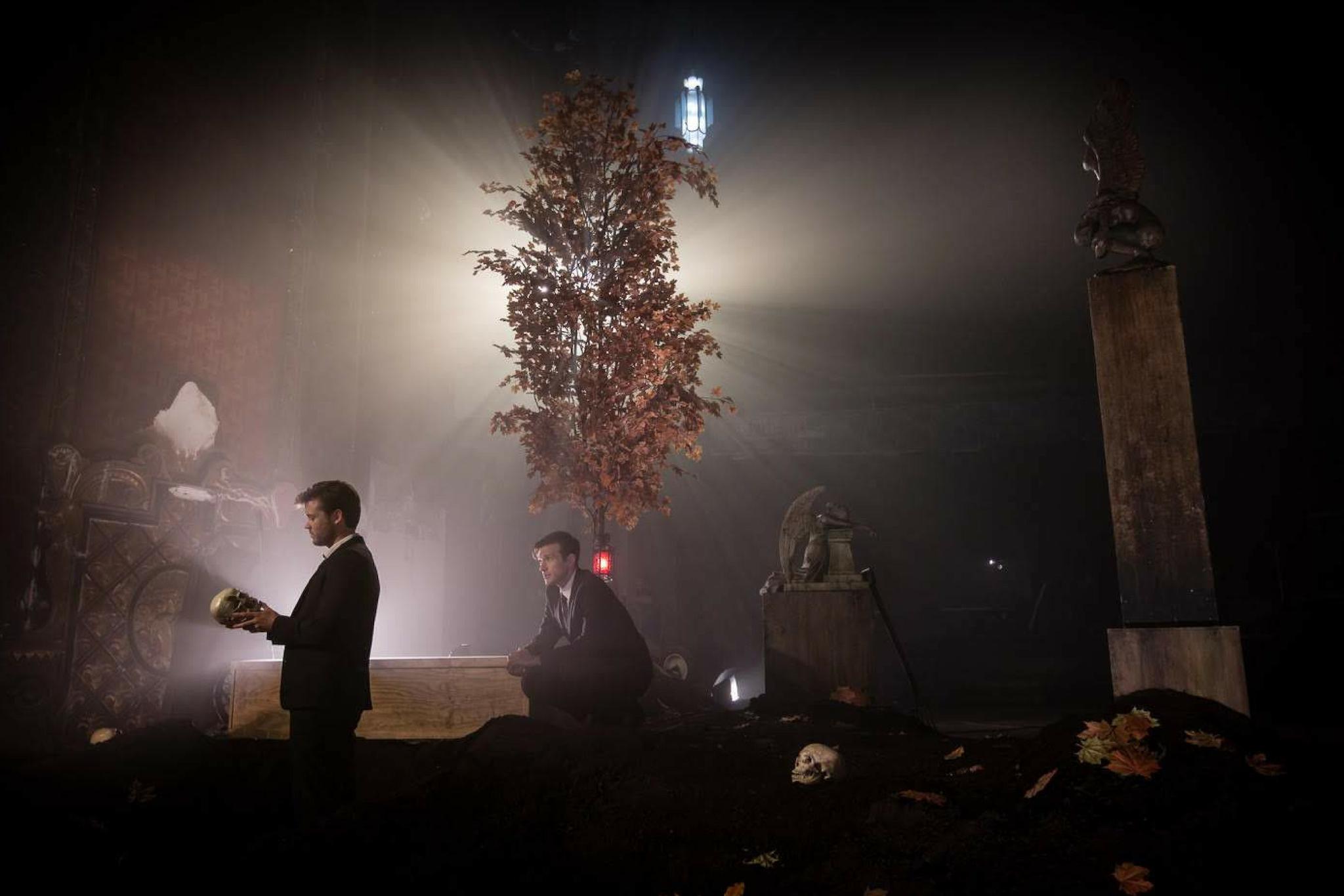 Jack Cutmore-Scott (Hamlet) and Jacob Fishel (Horatio) in Hamlet 360: Thy Father's Spirit. Photo by Matthew Niederhauser