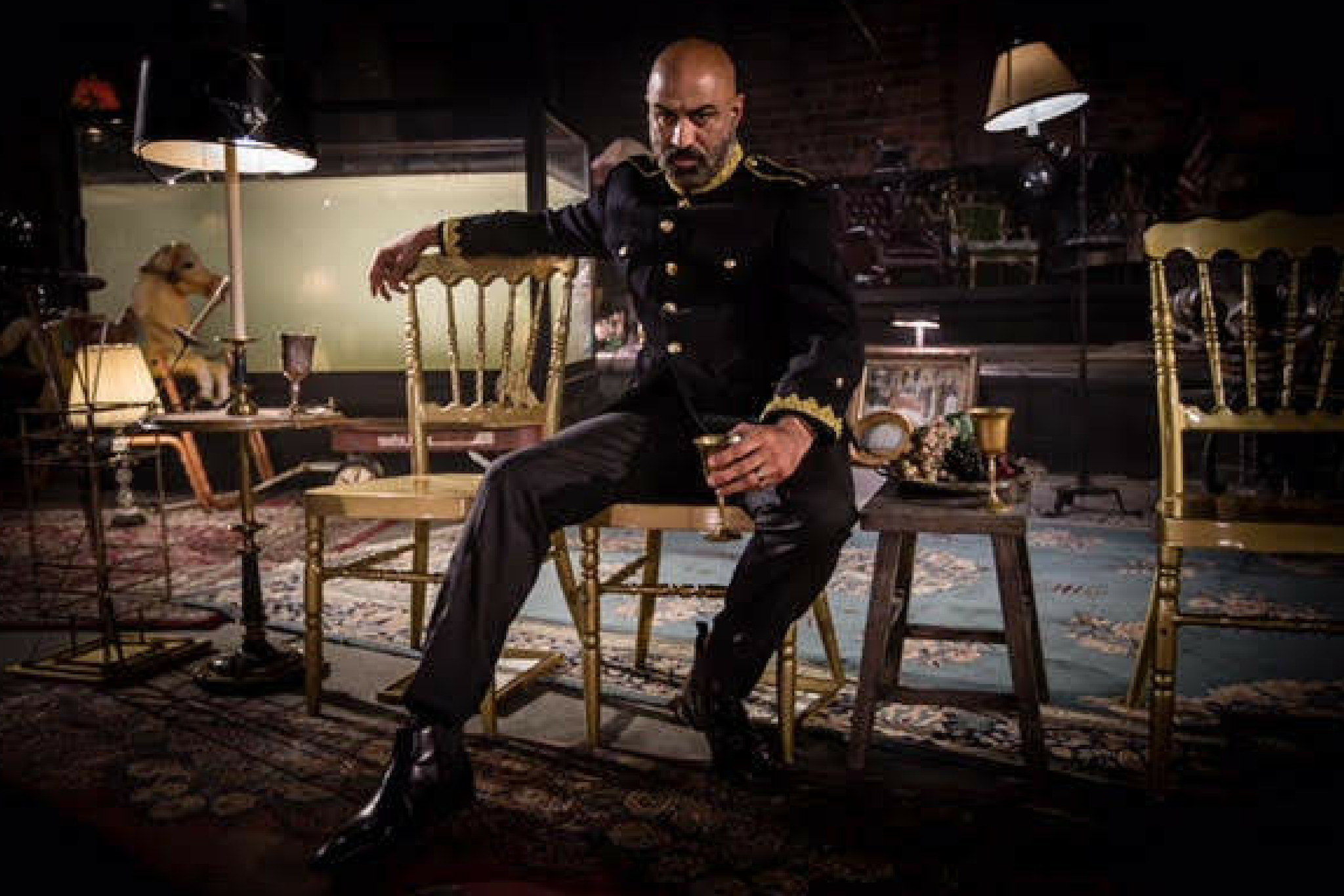 Faran Tahir as Claudius in Hamlet 360: Thy Father's Spirit. Photo by Matthew Niederhauser