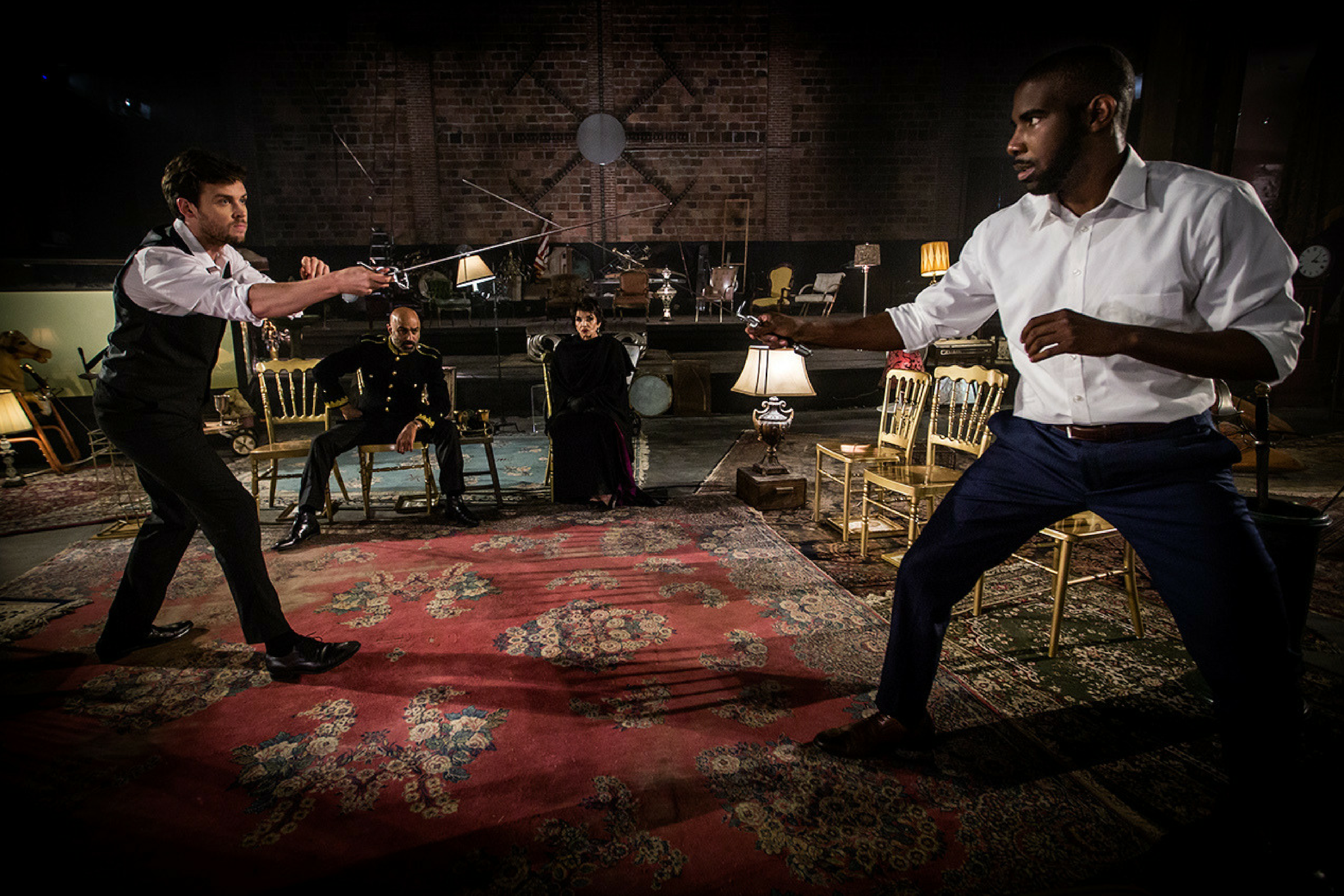 Jack Cutmore-Scott (Hamlet), Faran Tahir (Claudius), Brooke Adams (Queen gertrude), and Desean Kevin Terry (Laertes) in Hamlet 360: Thy Father's Spirit. Photo by Matthew Niederhauser