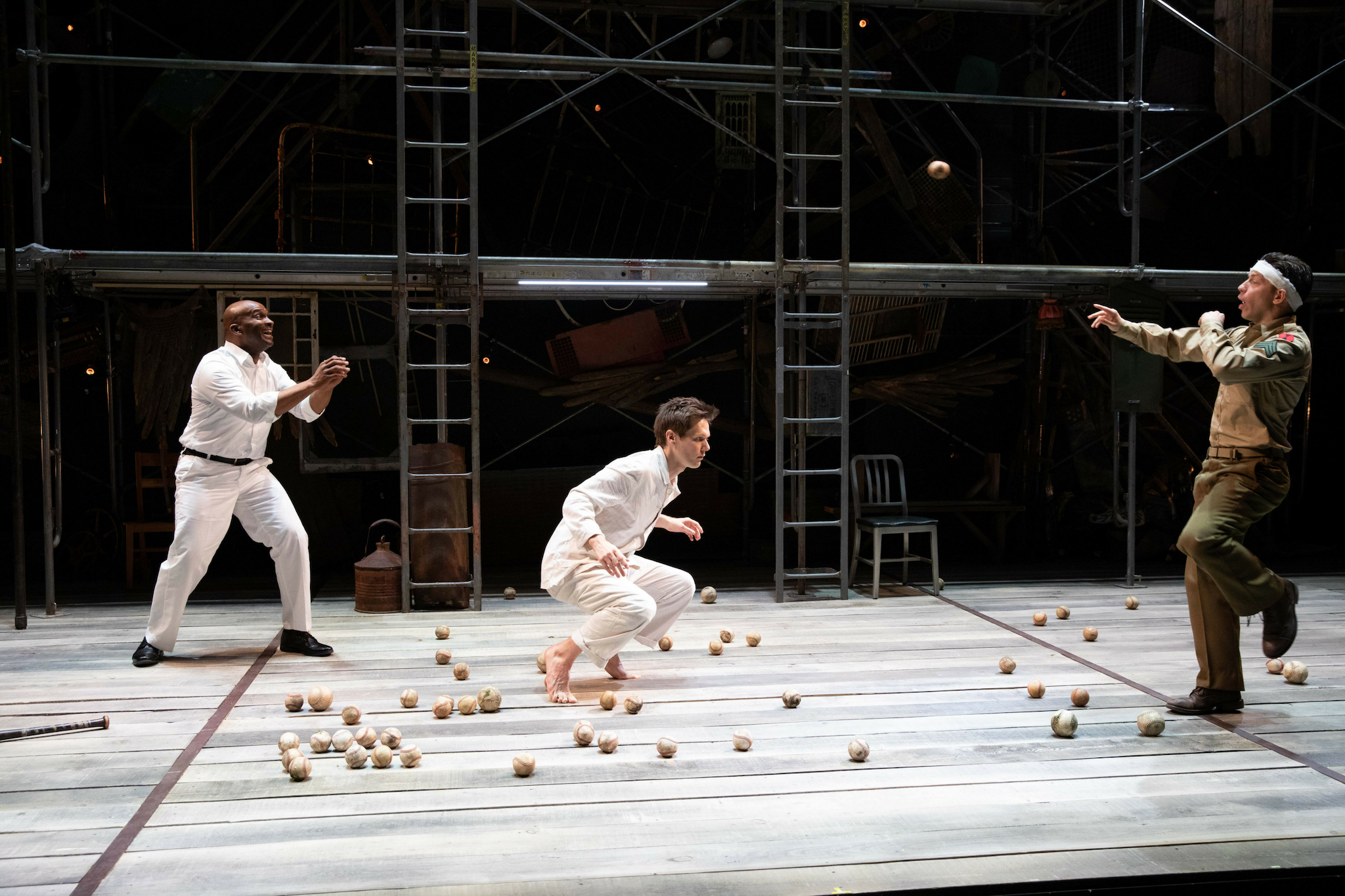 Damon Singletary (Renaldi), Will Taylor (Birdy), and Keith white (Al) in Birdy, 2019-Photo by Evgenia Eliseeva