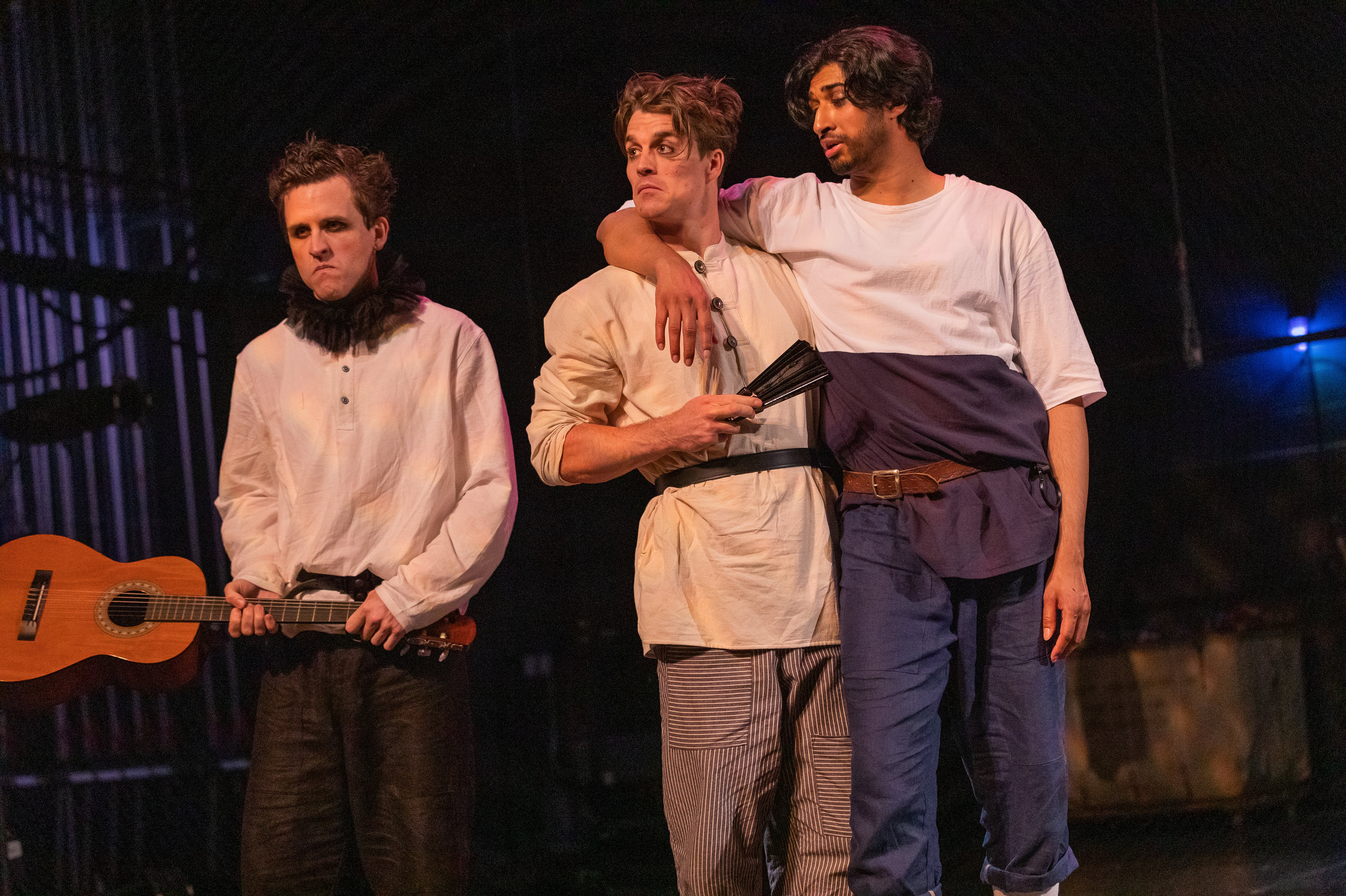 John Hardin, Michael Underhill, and Mihir Kumar in Romeo & Juliet, CSC2, 2019-Photo by Nile Hawver