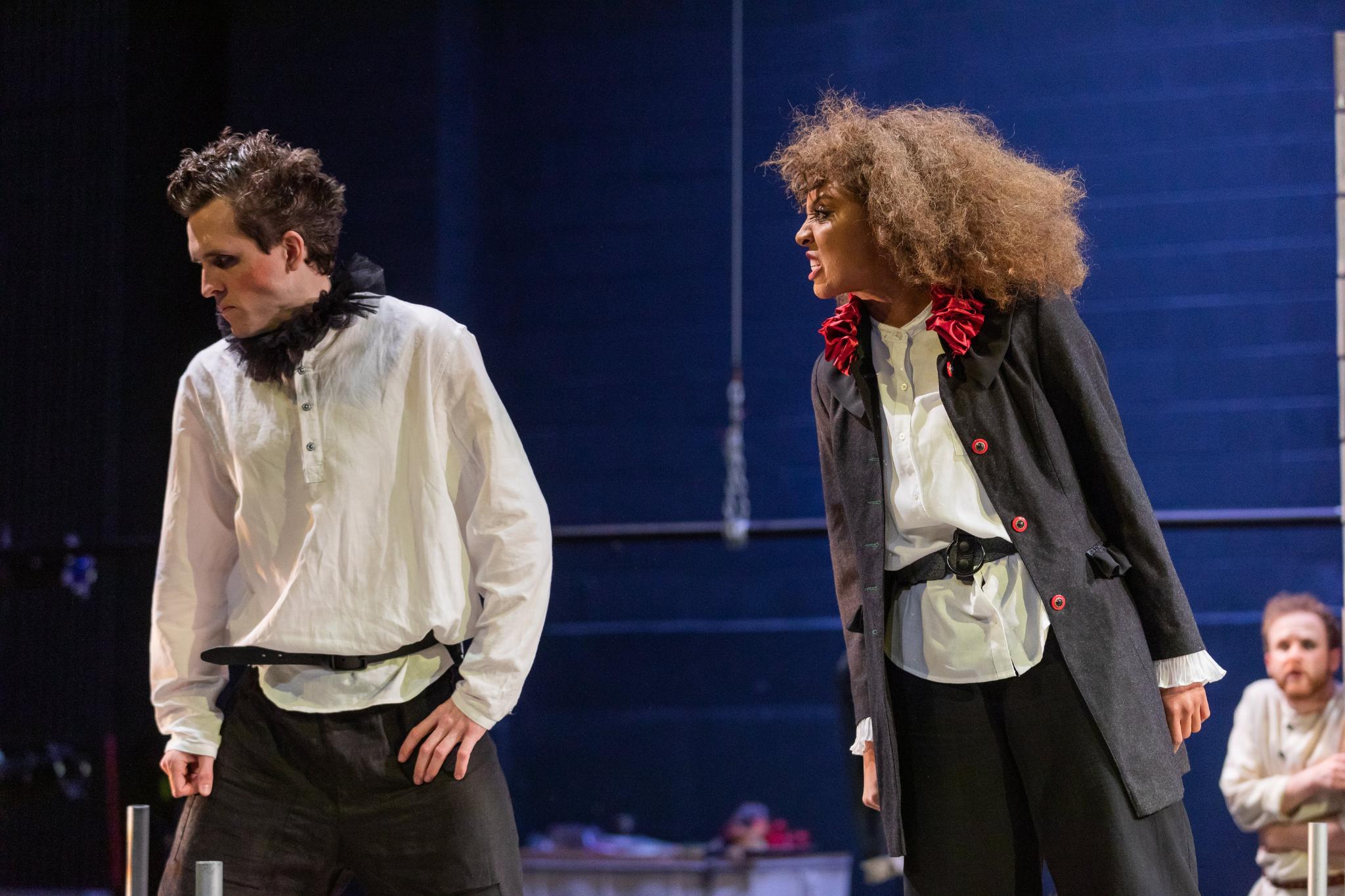John Hardin (Mercutio) and Malikah McHarrin-Cobb (Prince Escalus) in Romeo & Juliet, CSC2, 2019-Photo by Nile Hawver