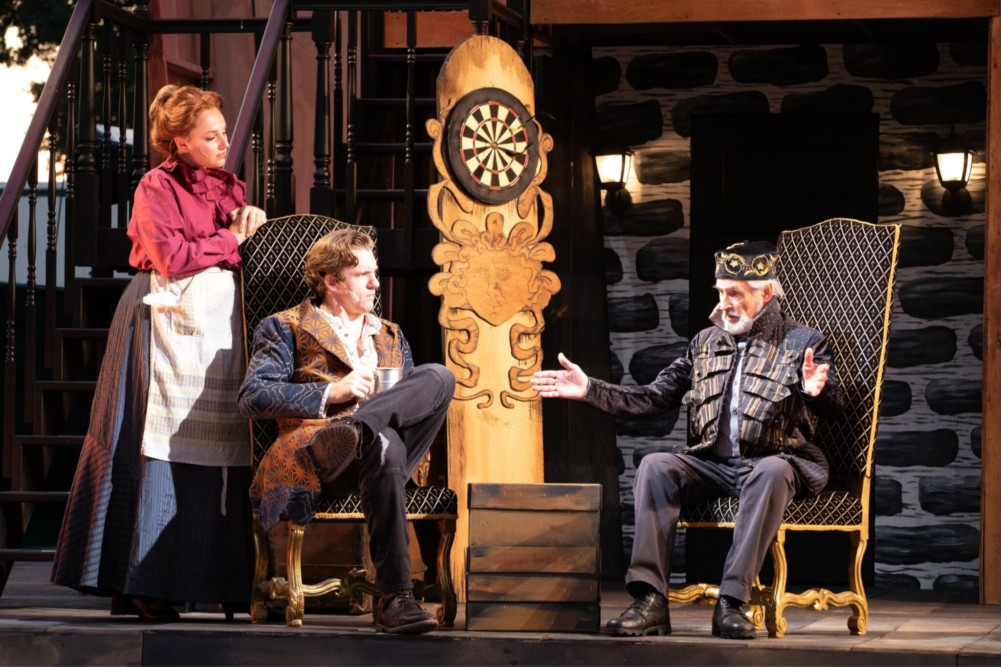 Sarah Vasilevsky (Lady), Richard Noble (Philario), and Jesse Hinson (Iachimo) in Cymbeline, Shakespeare on the Common 2019-Photo by Evgenia Eliseeva
