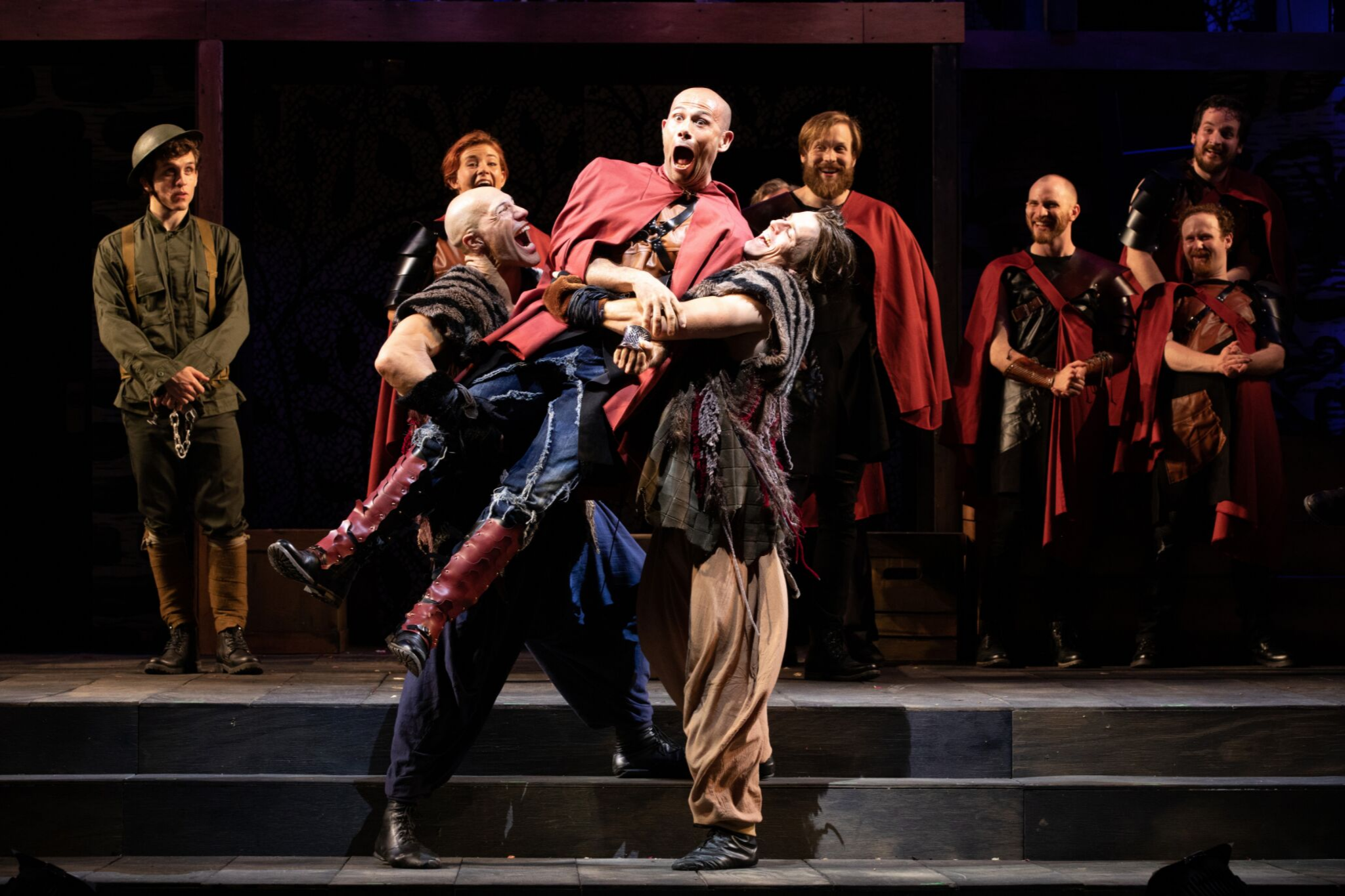 Jonathan Higginbotham (Guiderius), Daniel Duque-Estrada (Posthumus), and Michael Underhill as Arviragus in Cymbeline, Shakespeare on the Common 2019-Photo by Evgenia Eliseeva