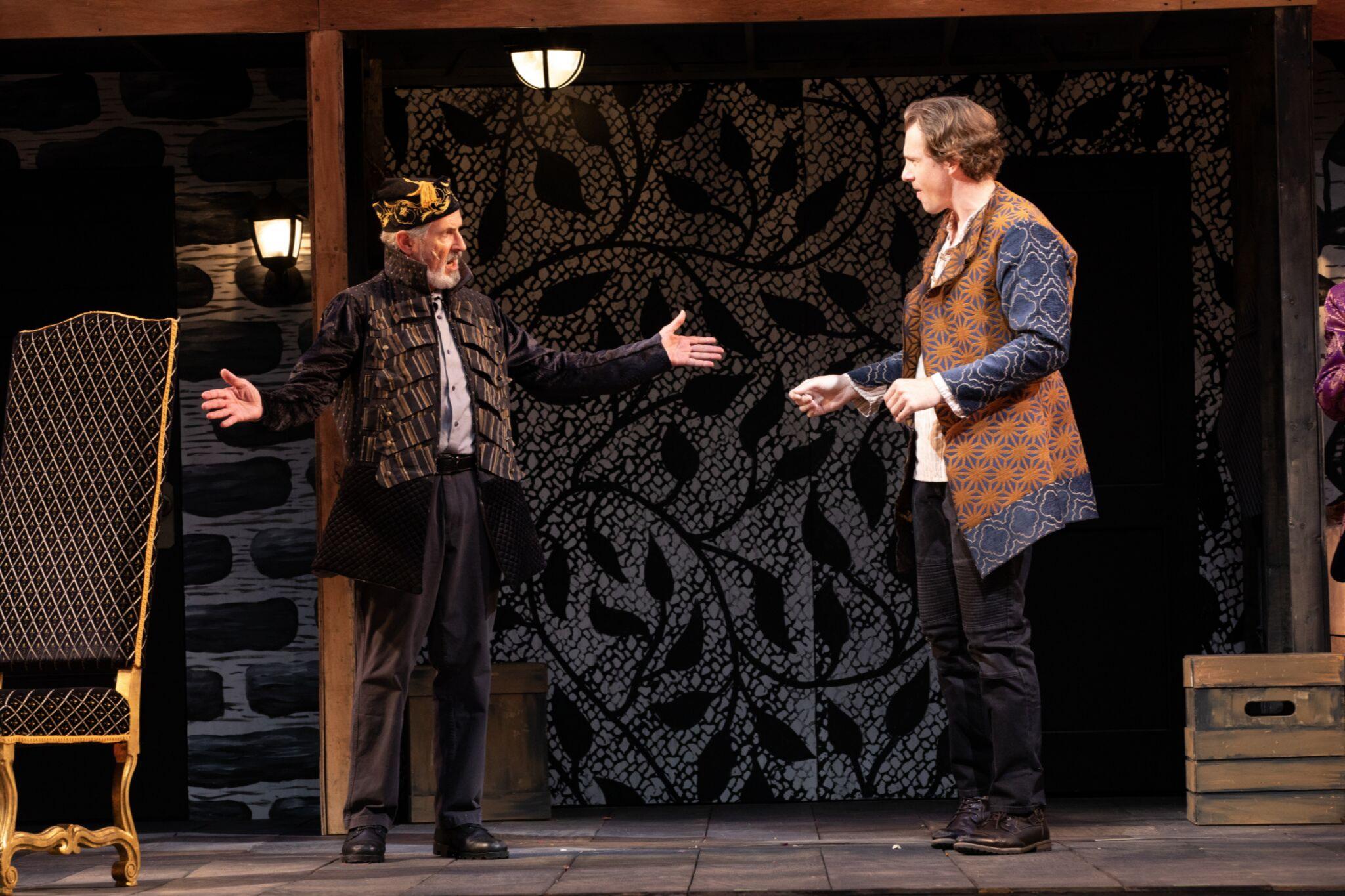 Richard Noble (Philario) and Jesse Hinson (Iachimo) in Cymbeline, Shakespeare on the Common 2019-Photo by Evgenia Eliseeva