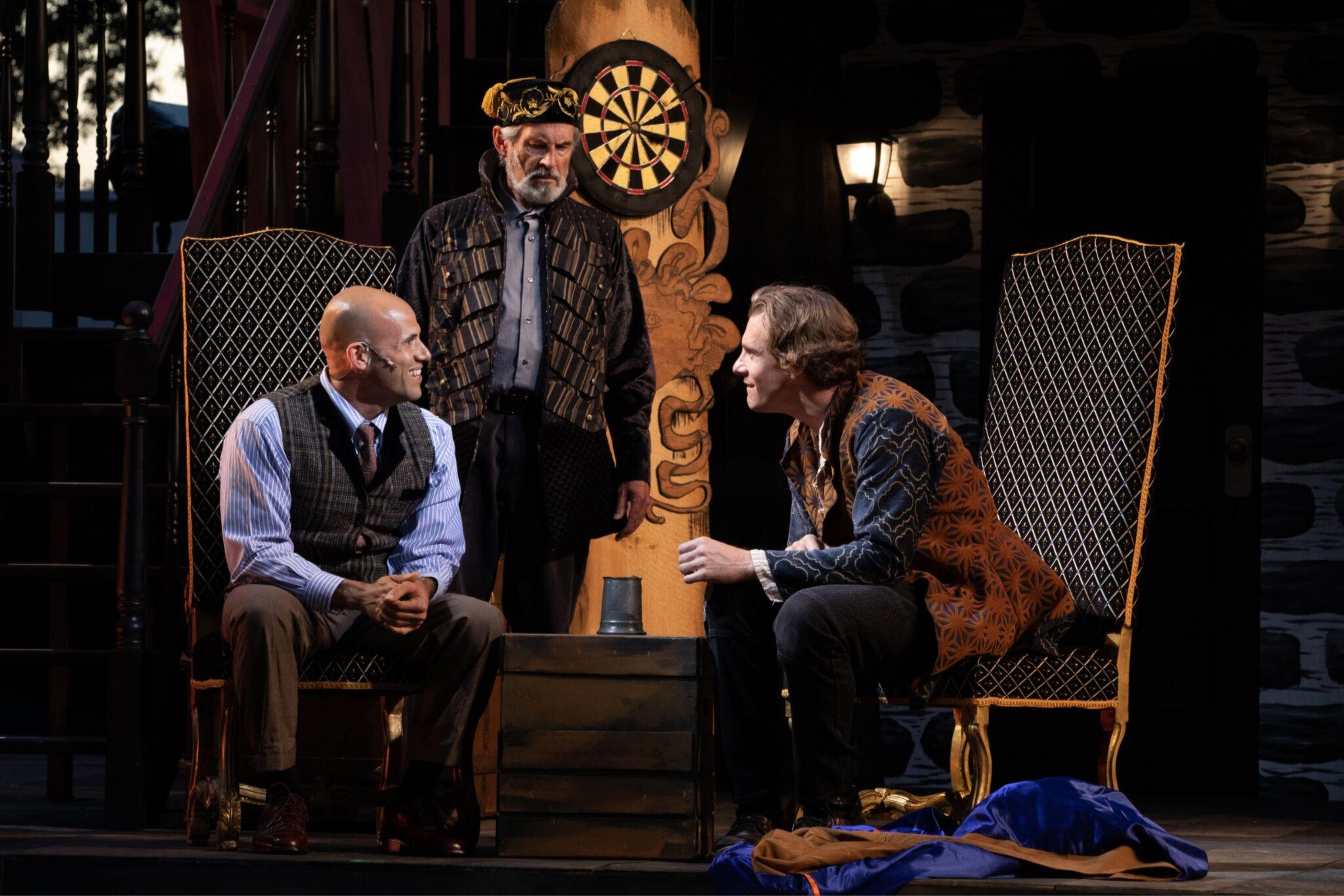 Daniel Duque-Estrada (Posthumus), Richard Noble (Philario), and Jesse Hinson (Iachimo) in Cymbeline, Shakespeare on the Common 2019-Photo by Evgenia Eliseeva