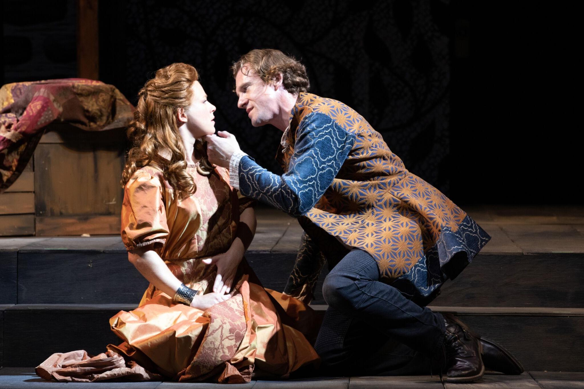 Nora Eschenheimer ( Imogen) and Jesse Hinson (Iachimo) in Cymbeline, Shakespeare on the Common 2019-Photo by Evgenia Eliseeva