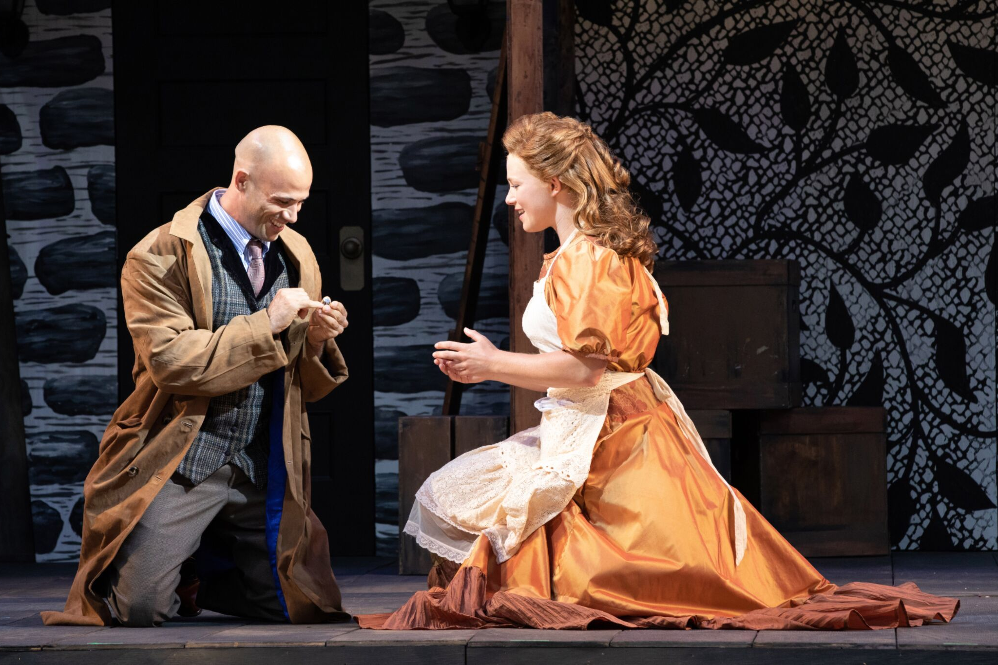 Daniel Duque-Estrada (Posthumus) and Nora Eschenheimer (Imogen) in Cymbeline, Shakespeare on the Common 2019-Photo by Evgenia Eliseeva