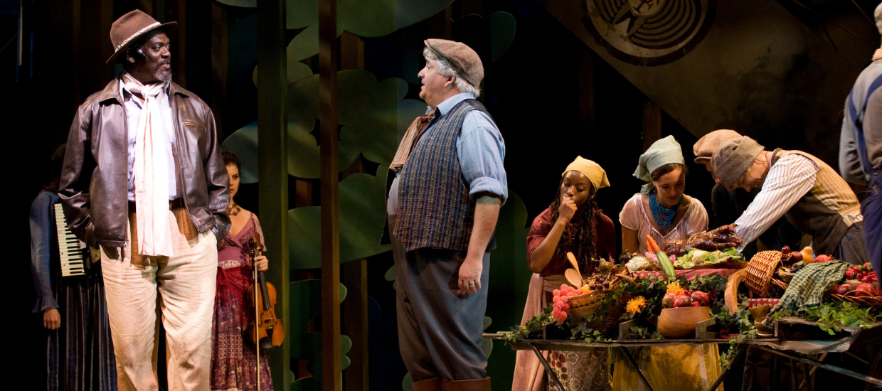 Johnny Lee Davenport (Duke Senior) and Tom Gleadow (Amiens) in As You Like It, Shakespeare on the Common 2008-Photo by T. Charles Erickson