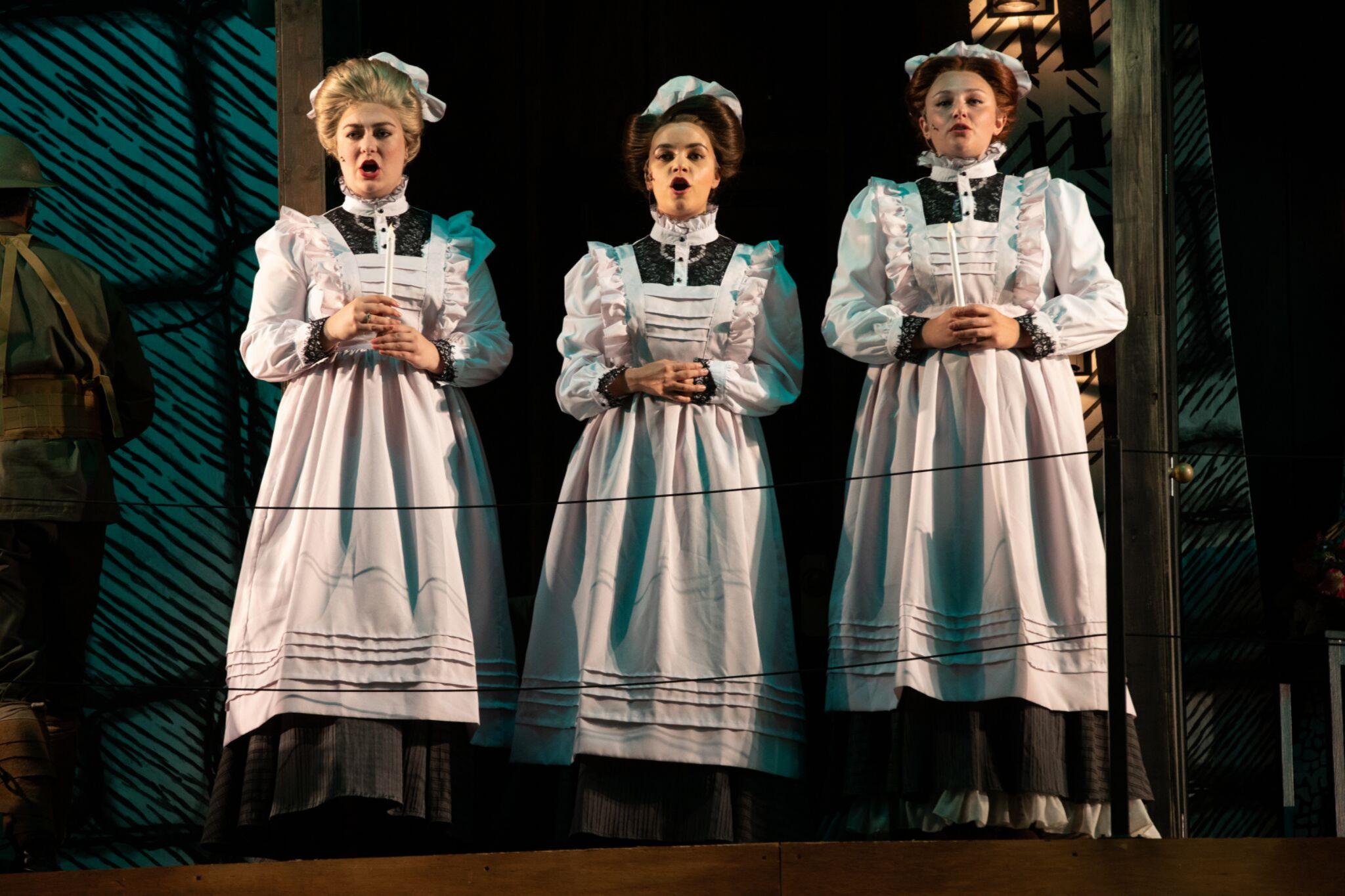 Ashley Knaack (Lady of Court), Erika Anclade (Lady of Court) and Sarah Vasilevsky (Lady of Court) in Cymbeline, Shakespeare on the Common 2019-Photo by Evgenia Eliseeva