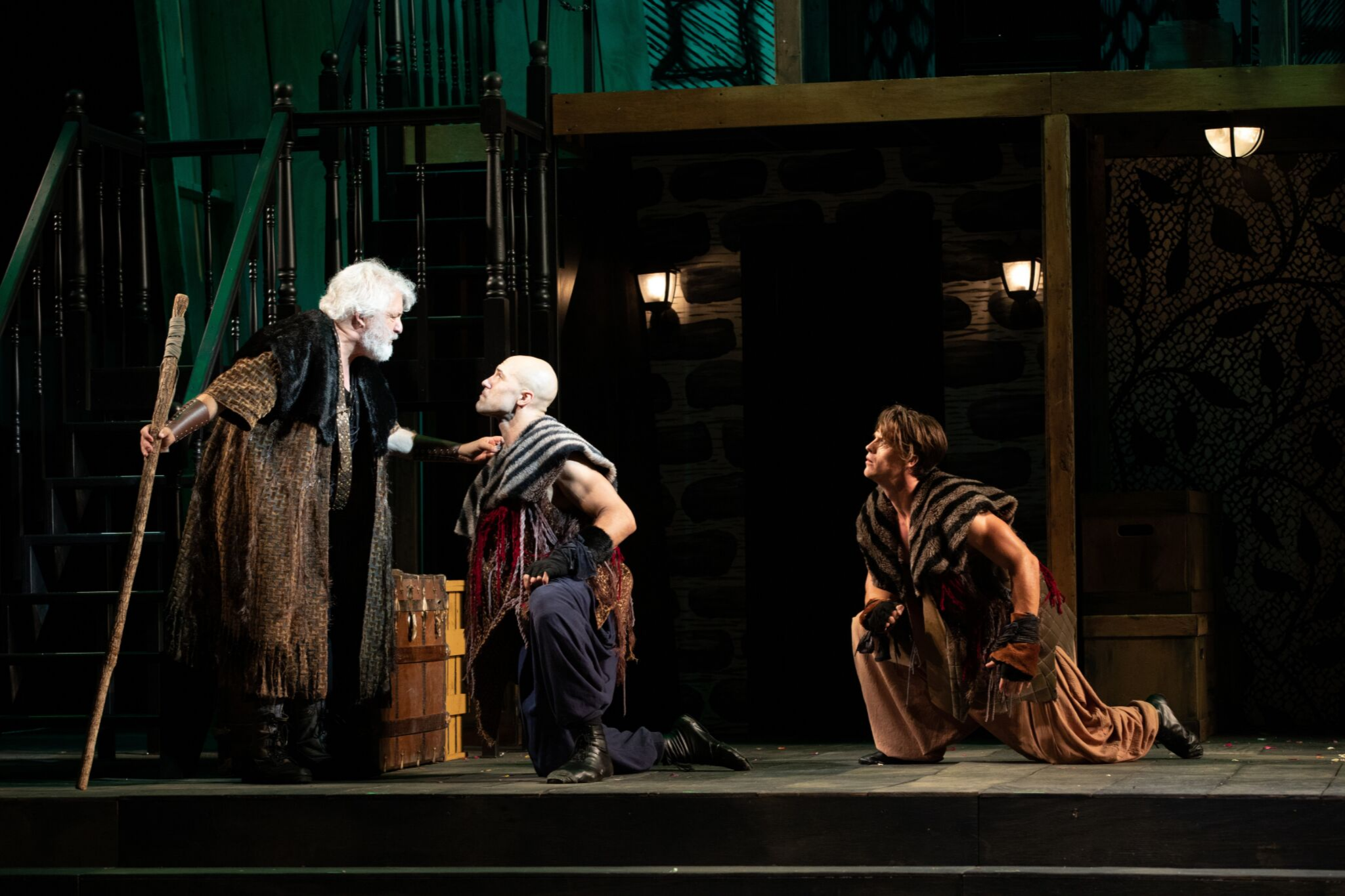 Tom Gleadow (Belarius), Jonathan Higginbotham (Guiderius), and Michael Underhill (Arviragus) in Cymbeline, Shakespeare on the Common 2019-Photo by Evgenia Eliseeva