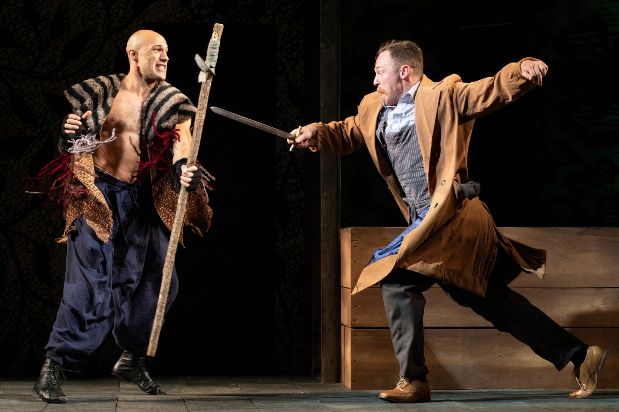 Jonathan Higginbotham (Guiderius), and Kelby Akin (Cloten) in Cymbeline, Shakespeare on the Common 2019-Photo by Evgenia Eliseeva