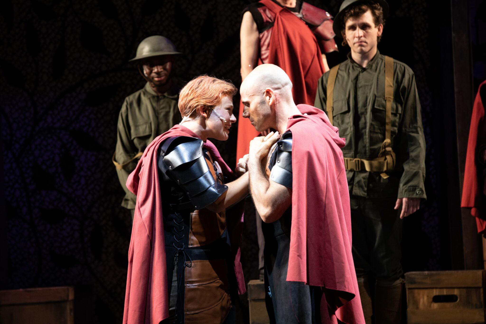 Nigel Richards (Soldier), Nora Eschenheimer (Imogen), Daniel Duque-Estrada (Posthumus) and John Hardin (Soldier) in Cymbeline, Shakespeare on the Common 2019-Photo by Evgenia Eliseeva