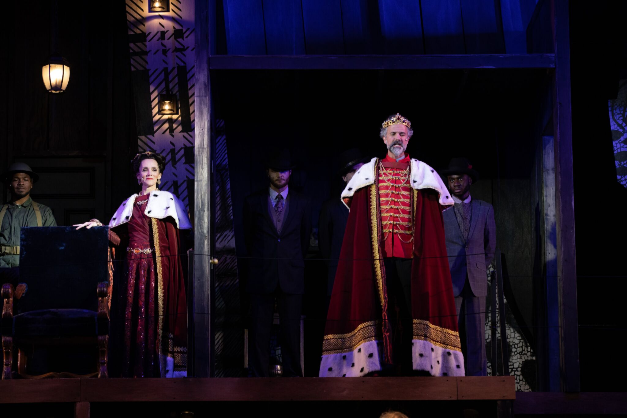 Jeanine Kane (Queen) and Tony Estrella (King Cymbeline) in Cymbeline, Shakespeare on the Common 2019-Photo by Evgenia Eliseeva