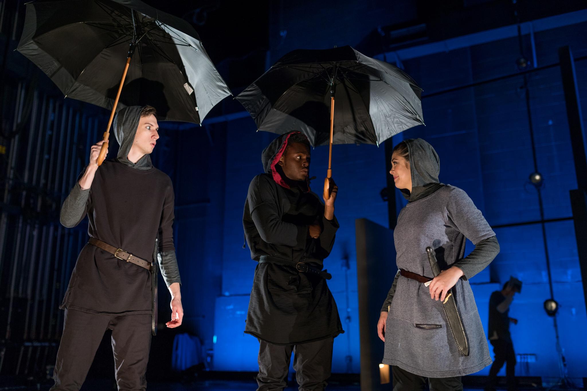 Keith Hale (Caska), Jamil Joseph (Cinna), Cassie Foote (Cassius) in Julius Caesar, CSC2, 2017-Photo by Nile Hawver