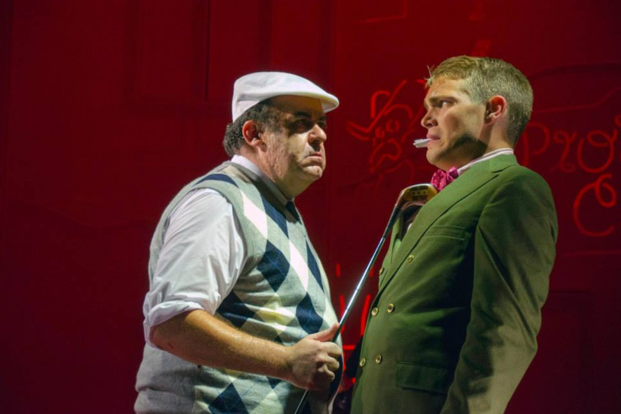 Rick Park (Duke of Milan) and Andrew Burnap (Valentine) in The Two Gentlemen of Verona, Shakespeare on the Common 2013-Photo by Andrew Brilliant.